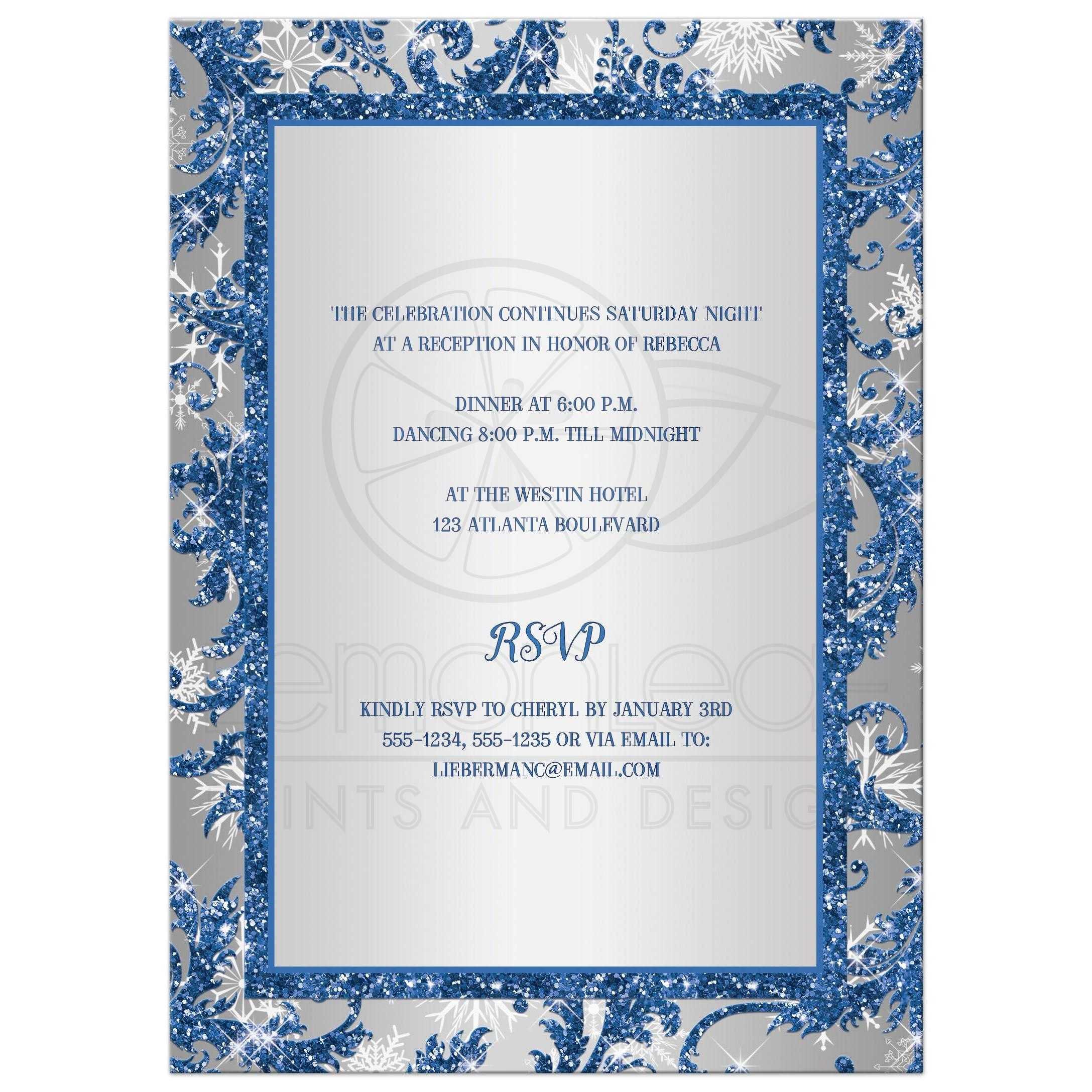 ... Royal Blue, Silver, White Snowflakes Bat Mitzvah Invitation With Jewish  Star ...