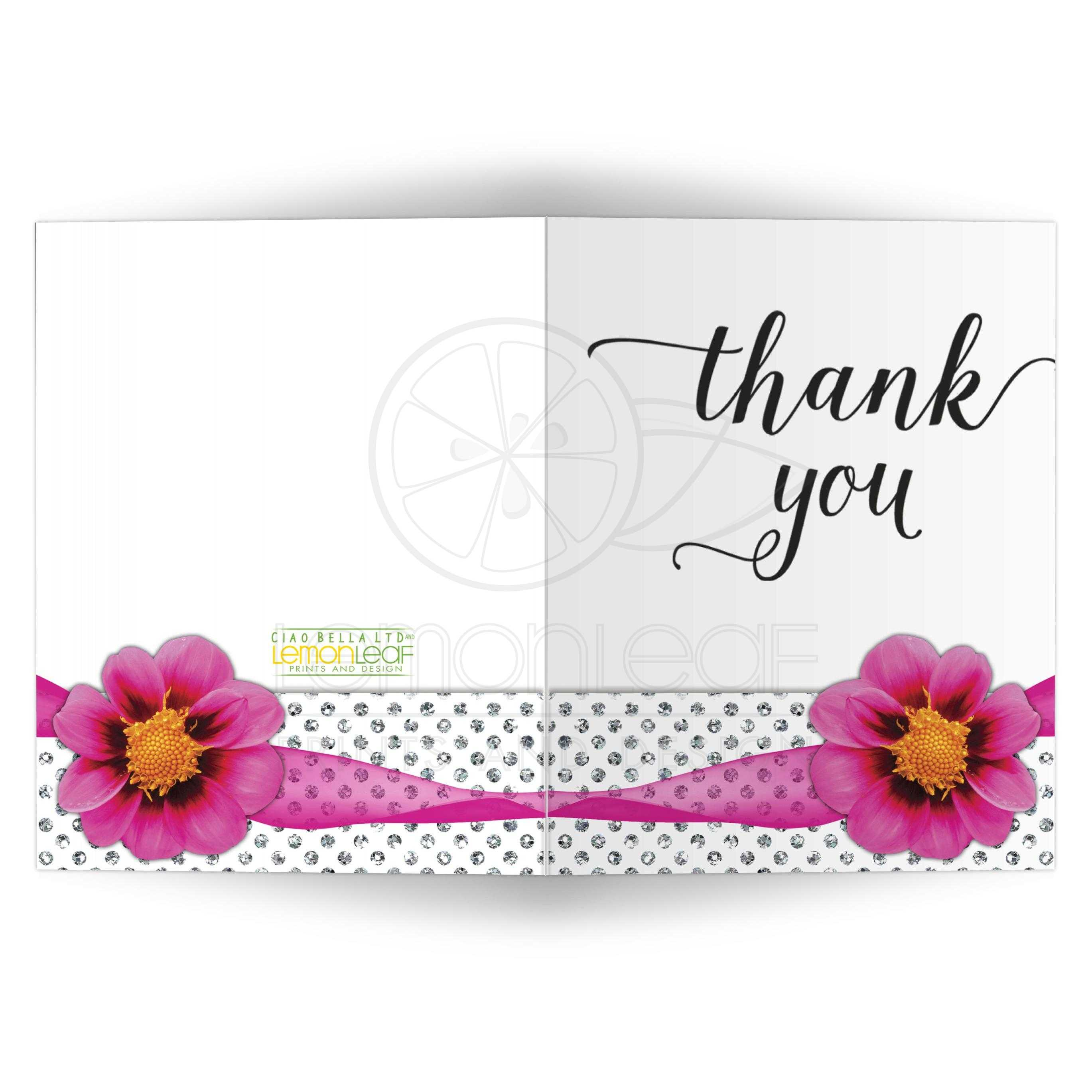 Hot Pink Flower With Sparkly Glitter Polka Dots Thank You Card
