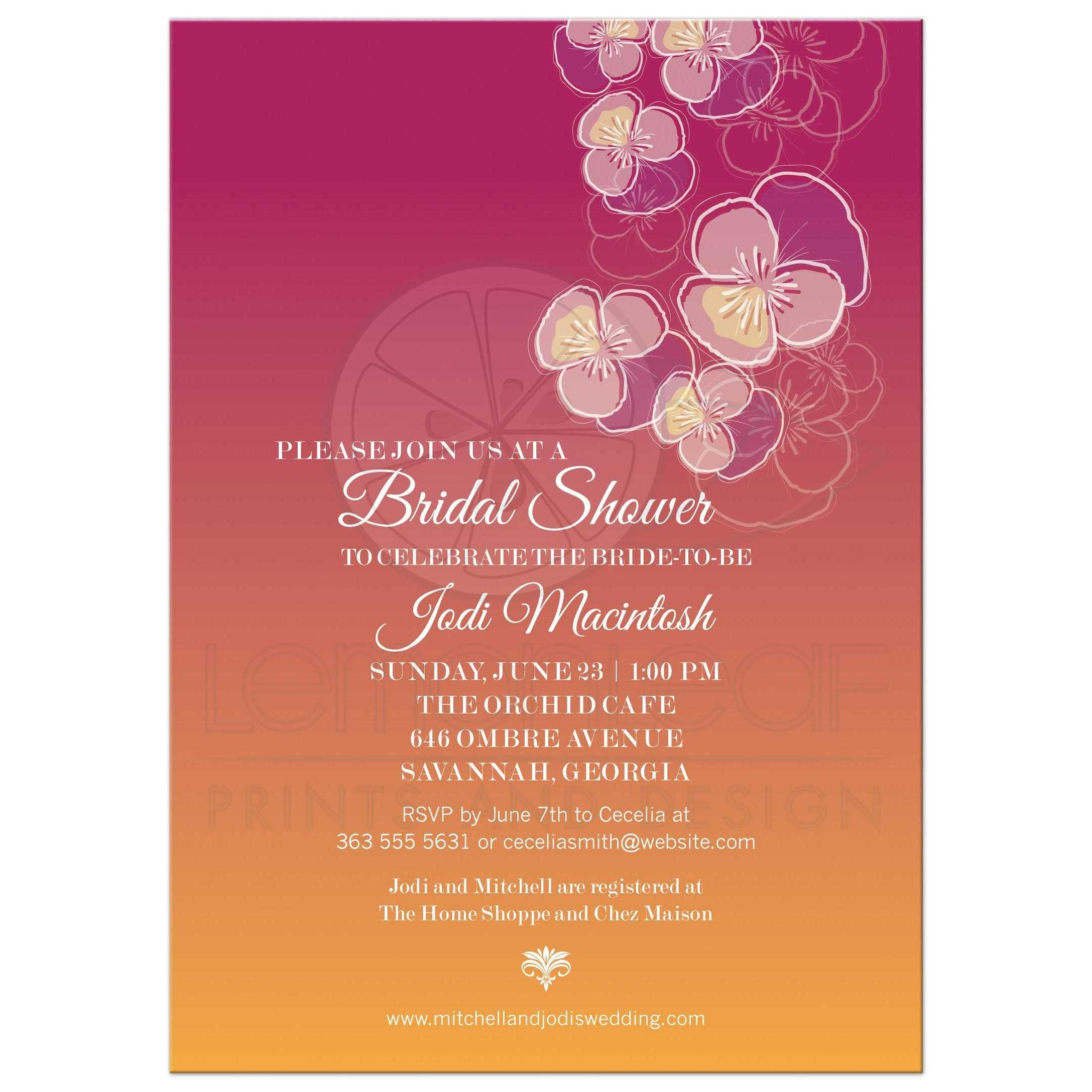 Bridal Wedding Shower invitation - Falling Pansy Flowers Pink Orange ...