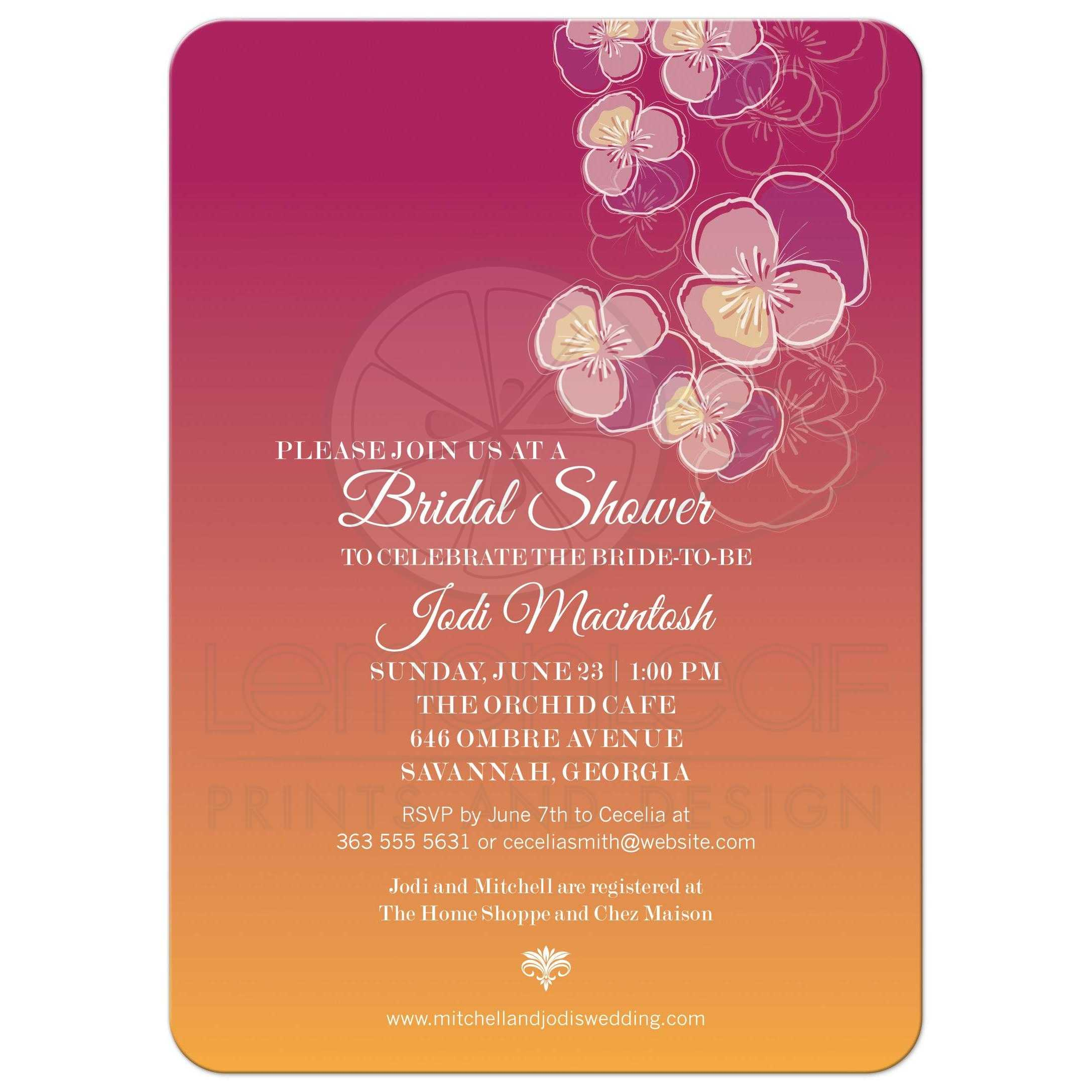Bridal Wedding Shower invitation - Falling Pansy Flowers Pink Orange ...