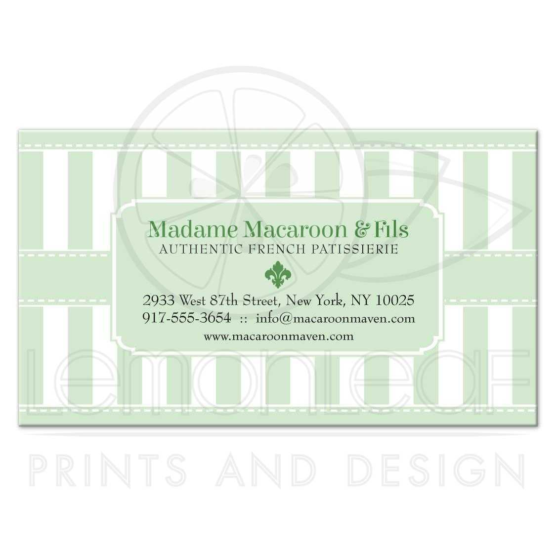 Business Card - Pastel Green Patisserie Bakery Stripes