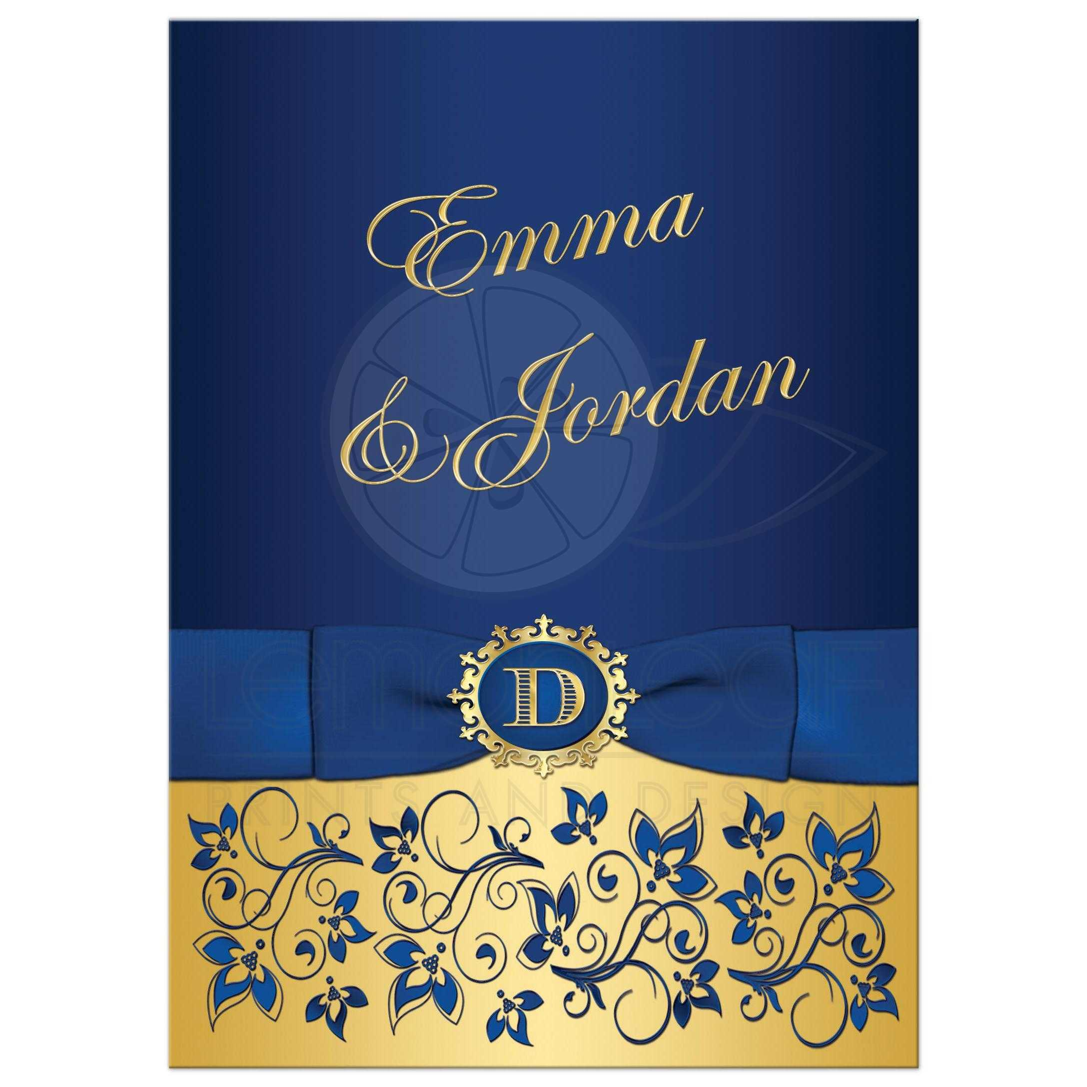Wonderful Royal Blue And Gold Floral Wedding Invitation With Monogram And Ribbon ...