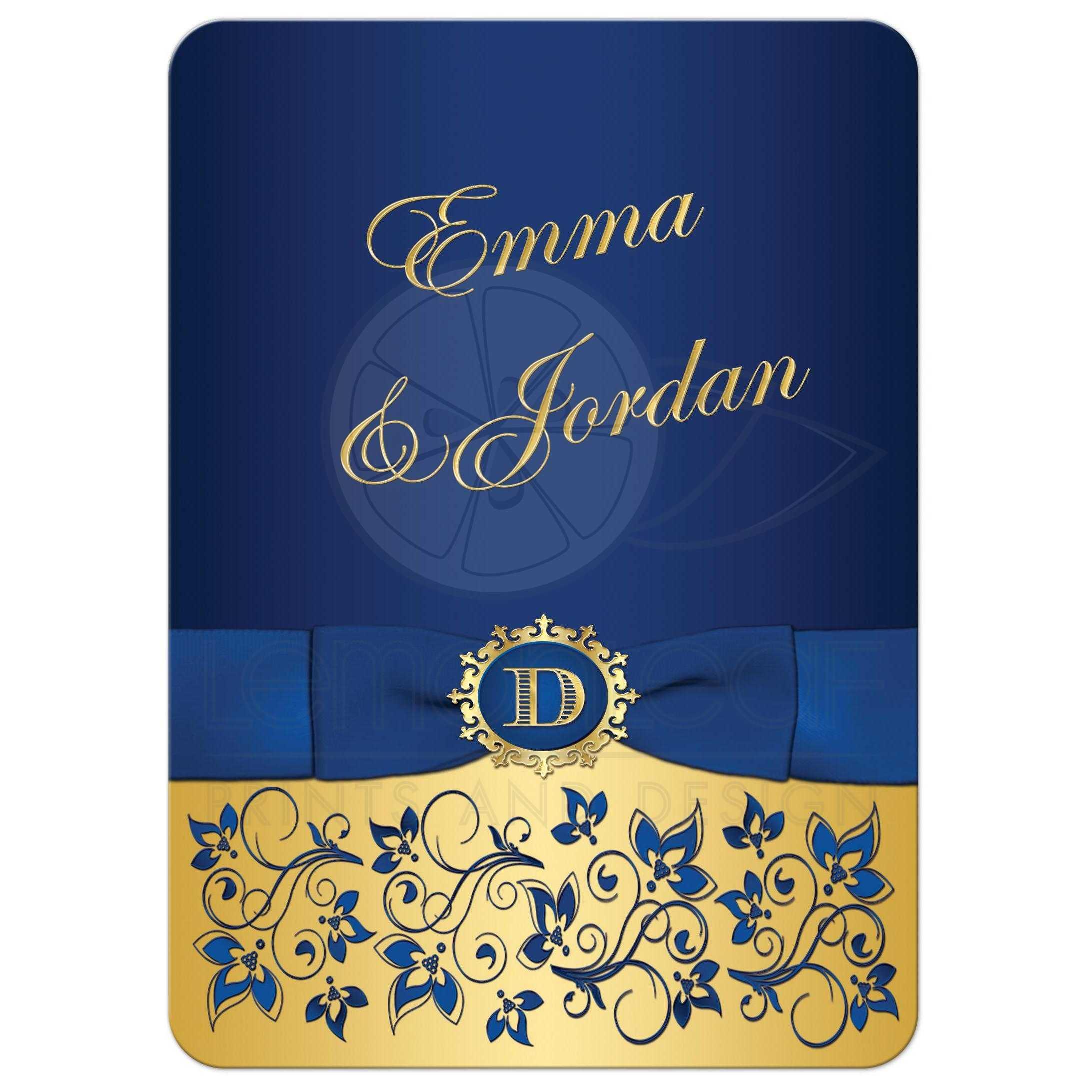 Wedding Invitation Royal Blue Gold Floral Monogram
