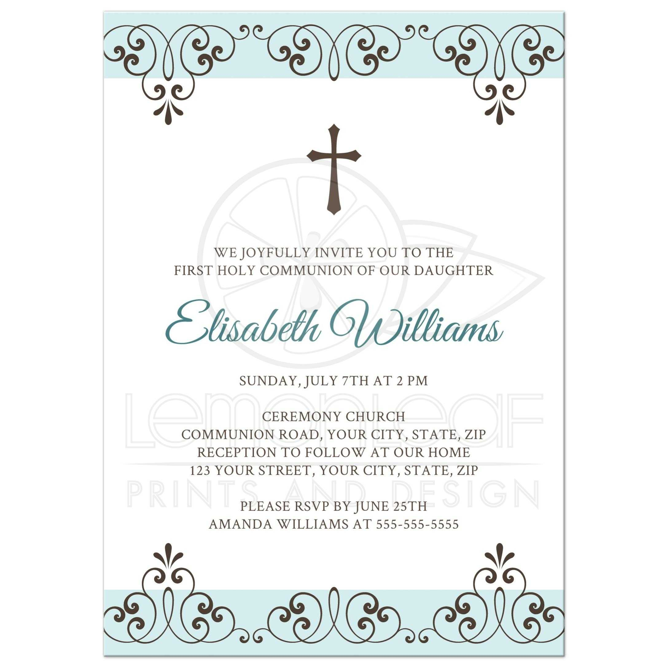 Pale, muted blue and brown First Holy Communion invite with ornate borders