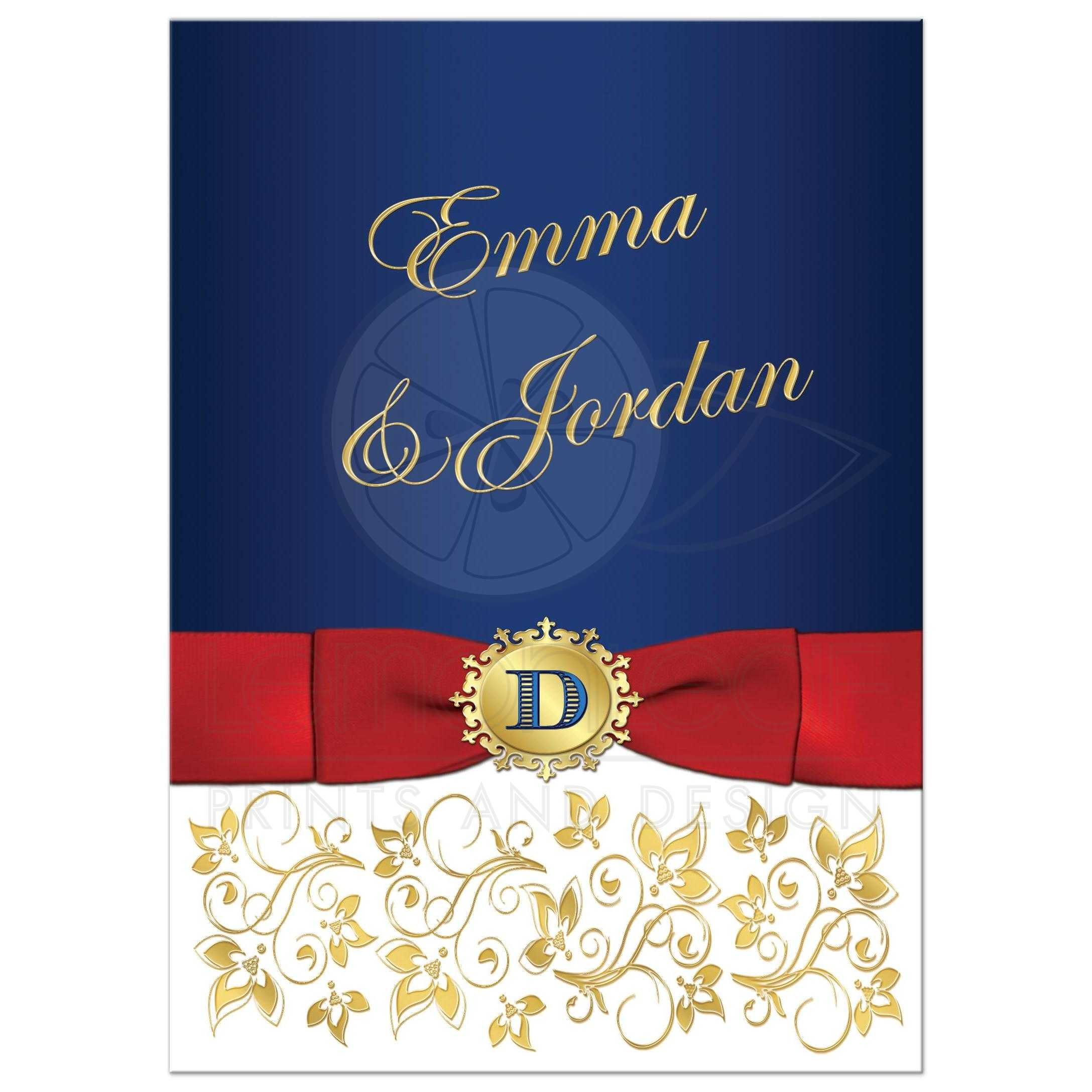Red White And Blue Military Wedding Invite With Gold Flowers Monogram Ribbon