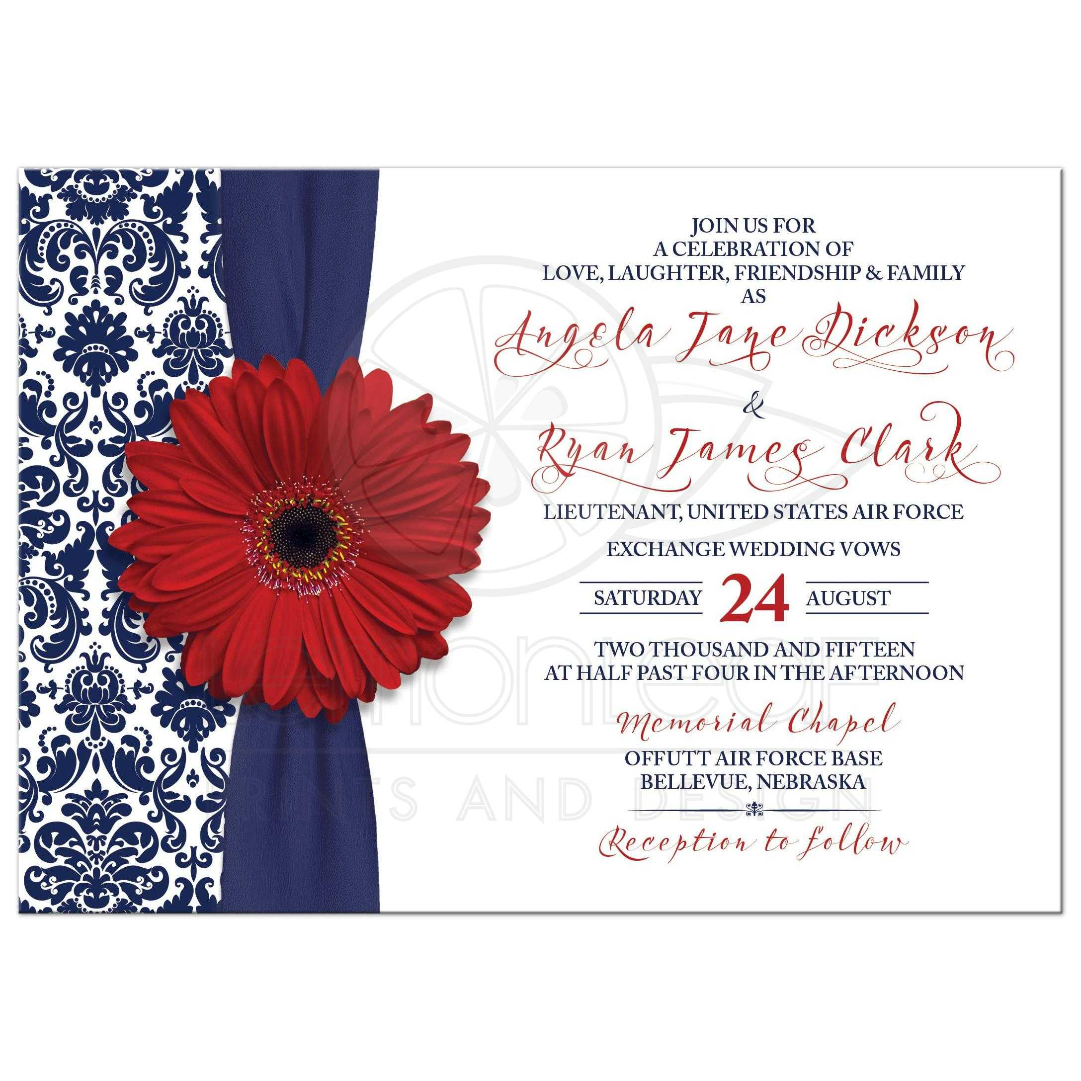 Red Gerber Daisy Navy Blue Damask Floral And Ribbon Patriotic Military Wedding Invitation Front