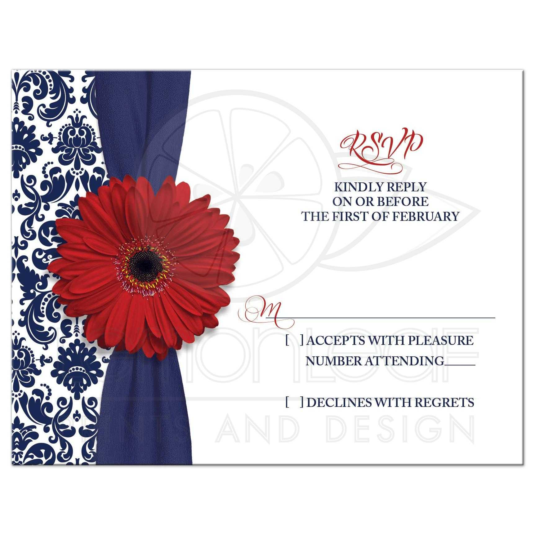 Wedding RSVP Military Red Gerber Daisy Navy Damask