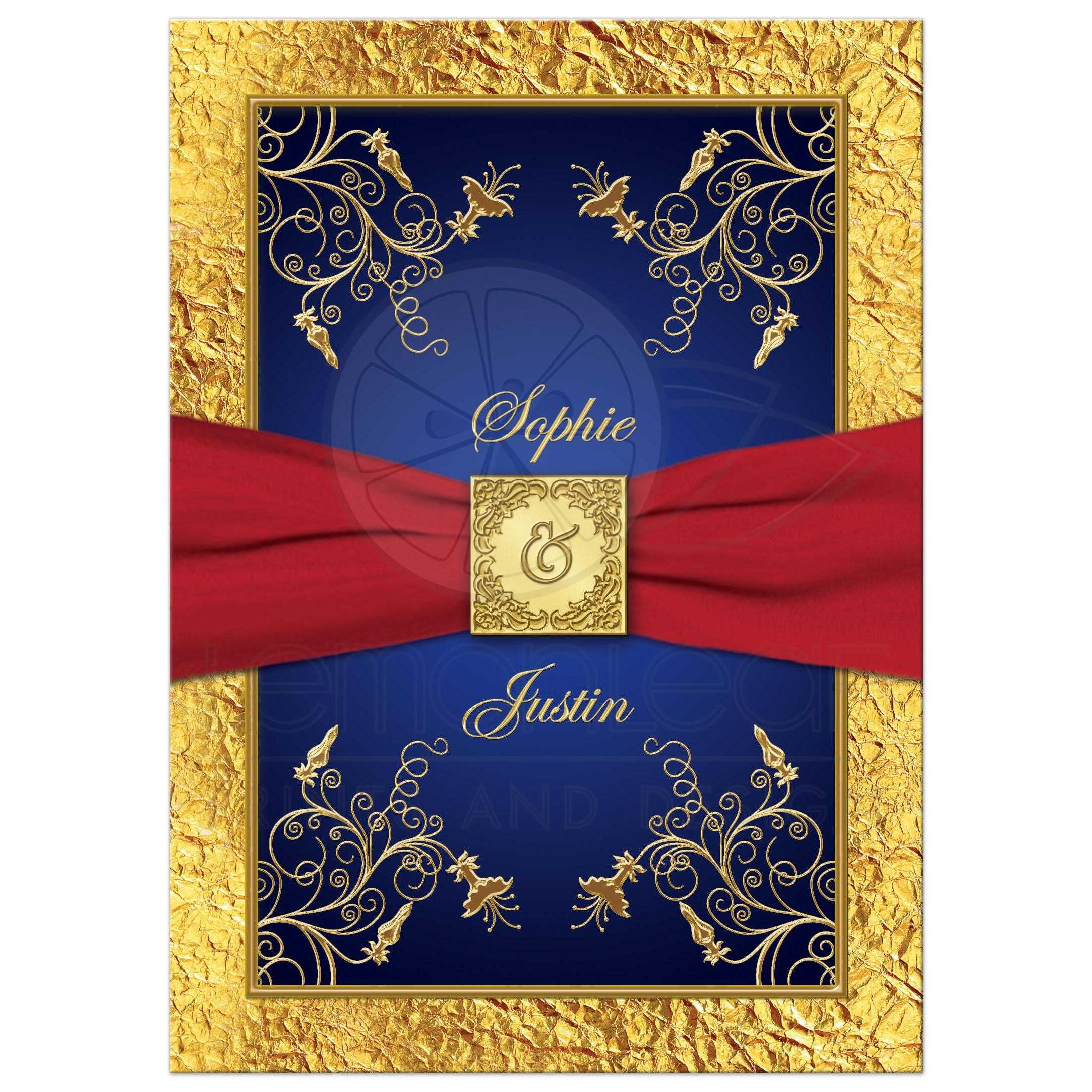 Wedding Invitation Blue Red Gold Floral Monogram Printed