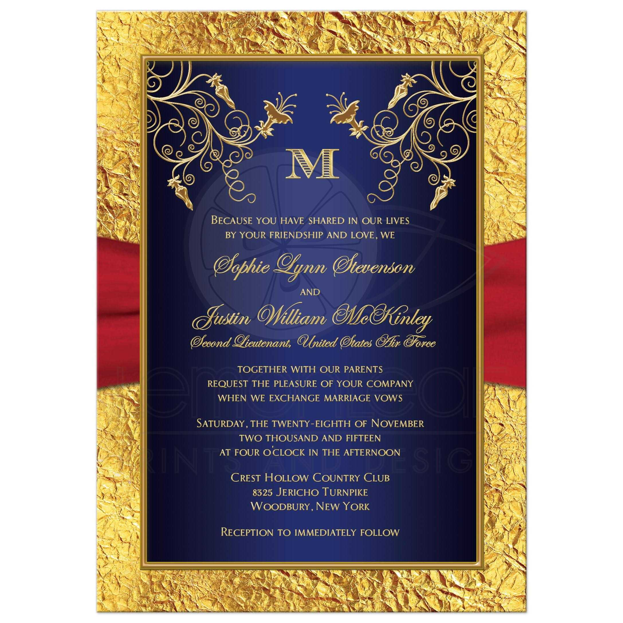 ... Monogrammed Navy Blue, Red, And Gold Floral Wedding Invitation With  Ribbon ...