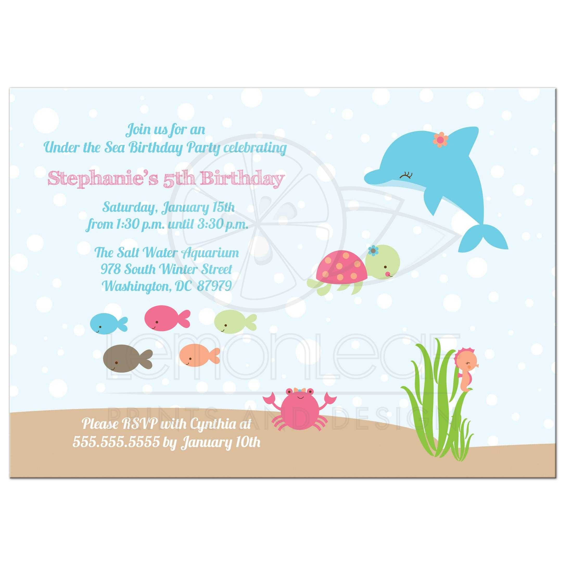 Under The Sea Girls Birthday Party Invitation