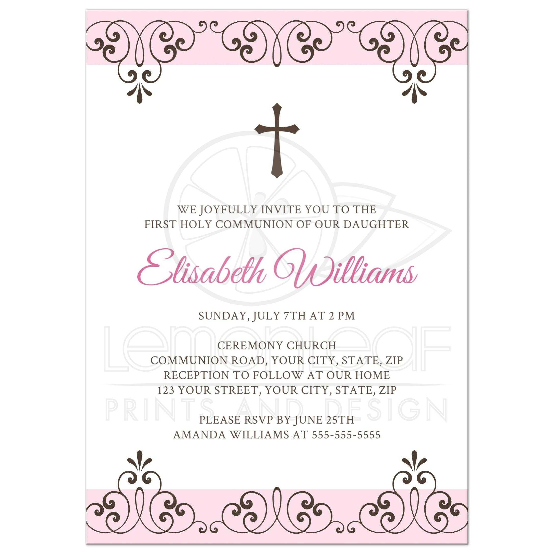 pink and brown first holy communion invitation with elegant lace damask borders