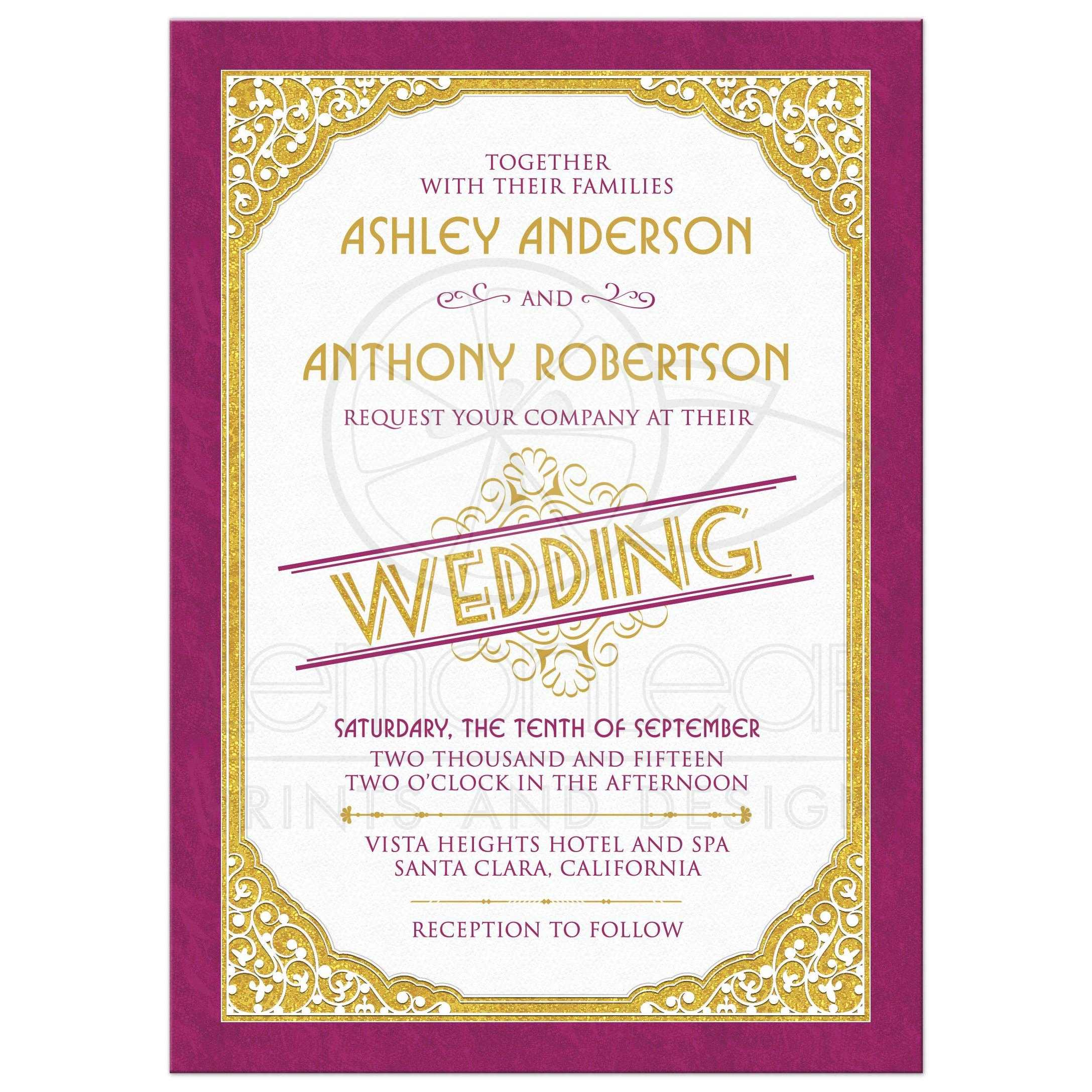 Wedding Invitation Vintage Typography Merlot Gold