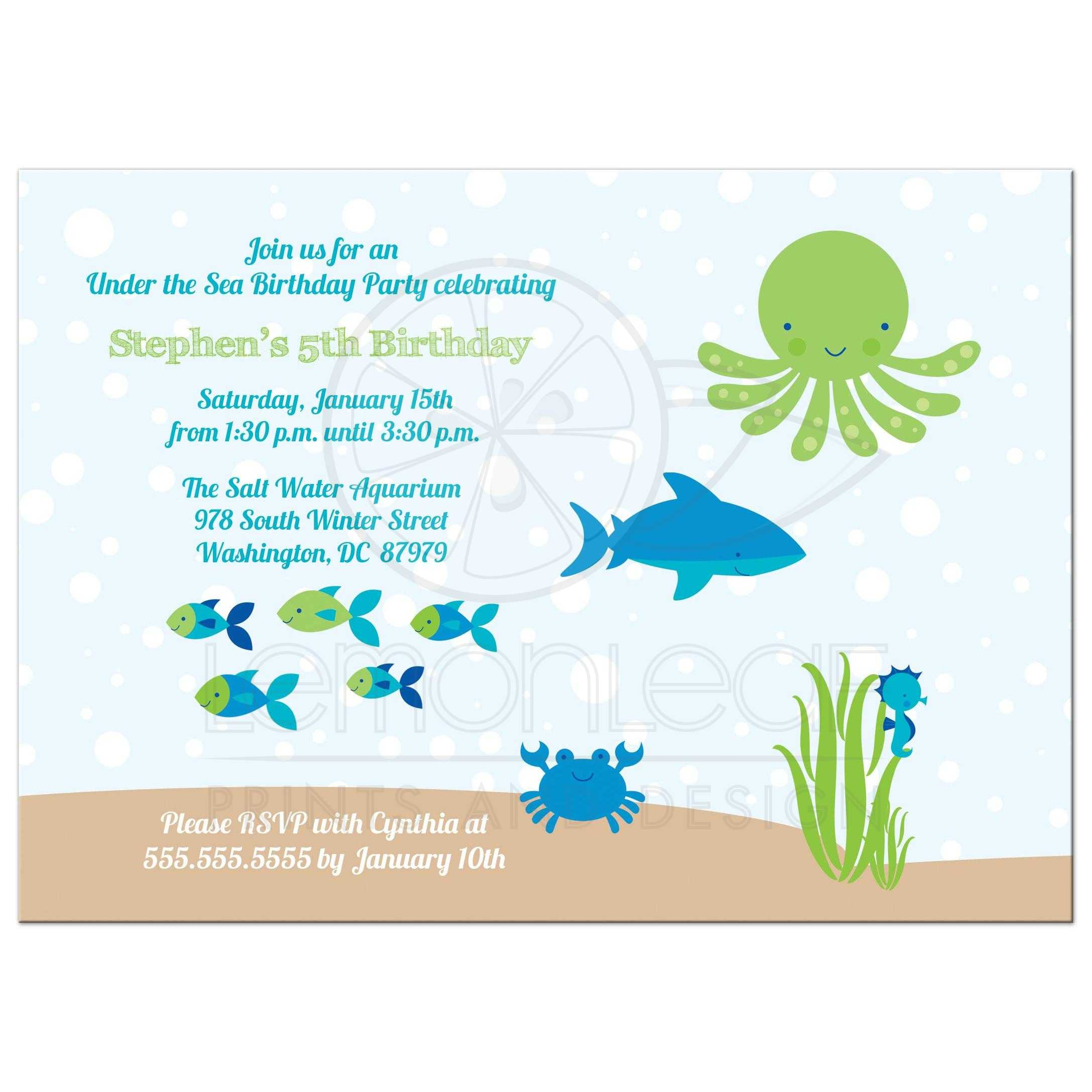 Under The Sea Boys Birthday Party Invitation