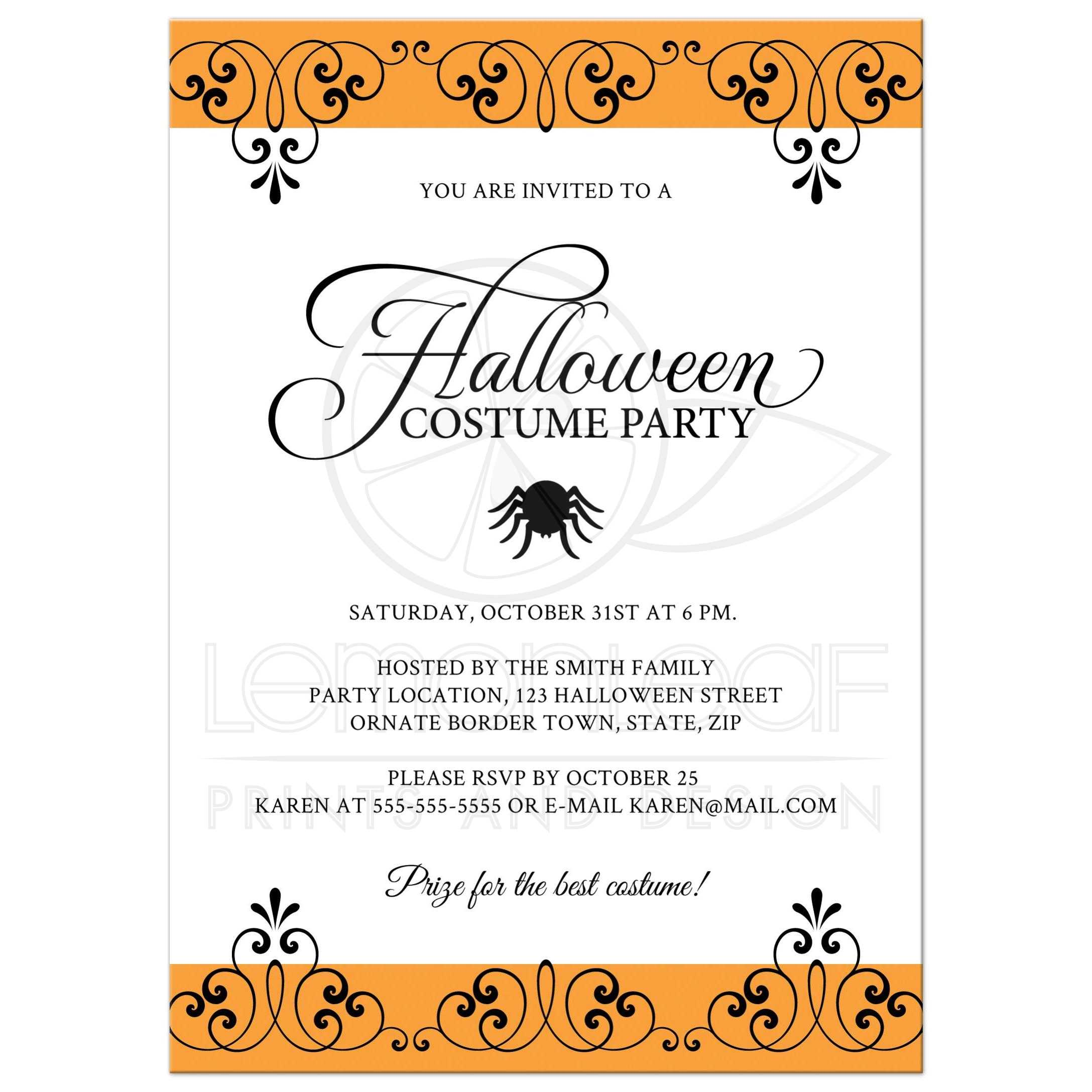 Elegant Halloween costume party invitation with spider and black and orange ornate borders.  sc 1 st  Lemon Leaf Prints & Halloween costume party invitation with ornate black and orange borders