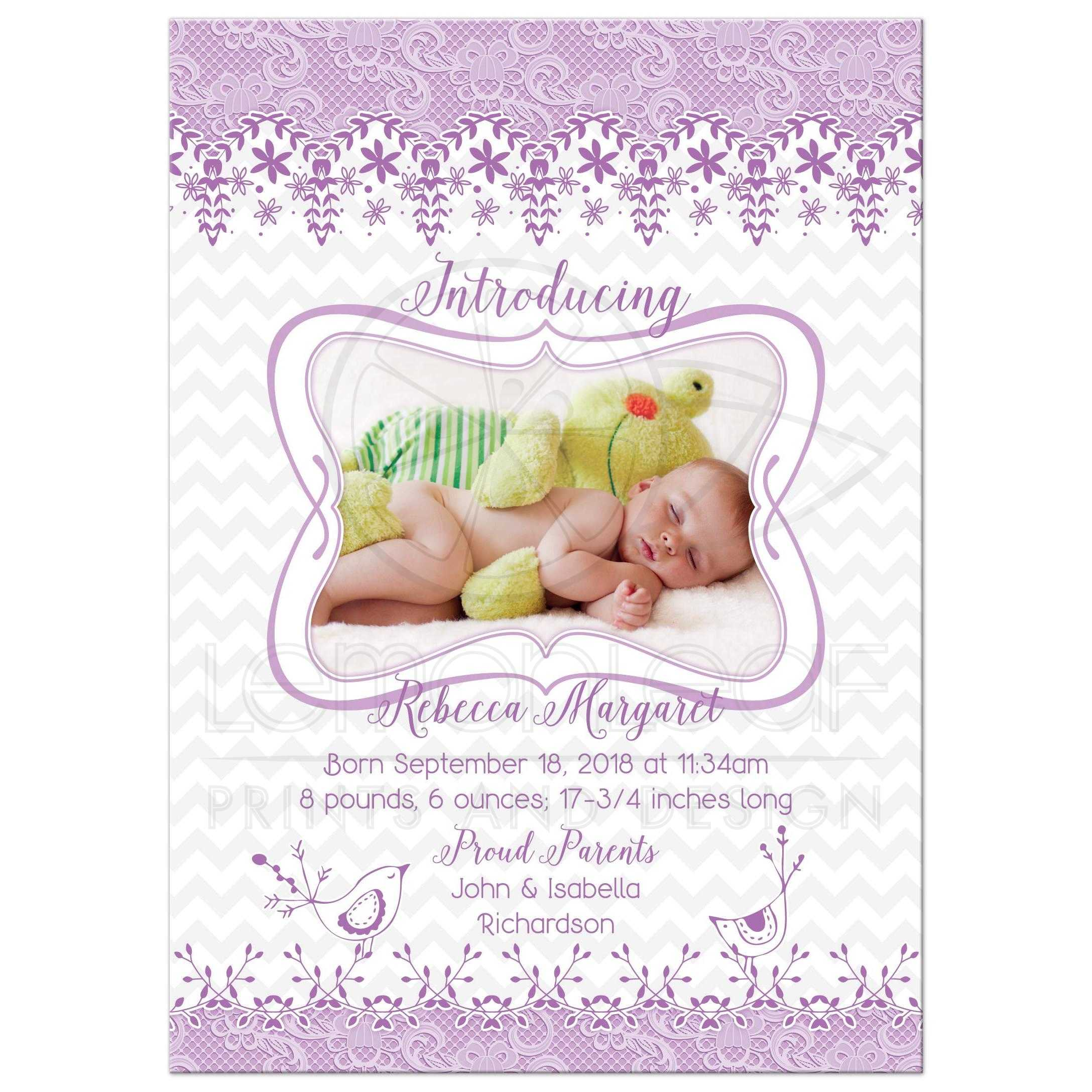 baby girl birth announcement purple lace whimsical bird floral