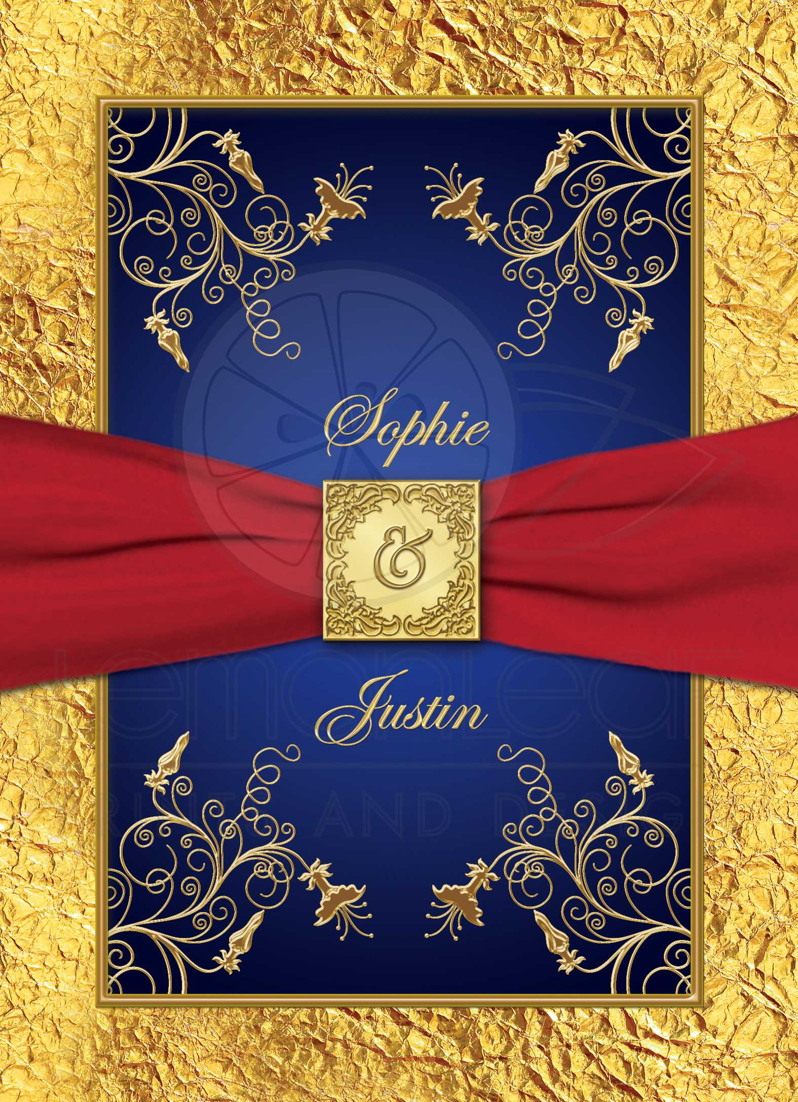 Wedding Invitation | Blue, Red, Gold Floral | Monogram | Printed ...