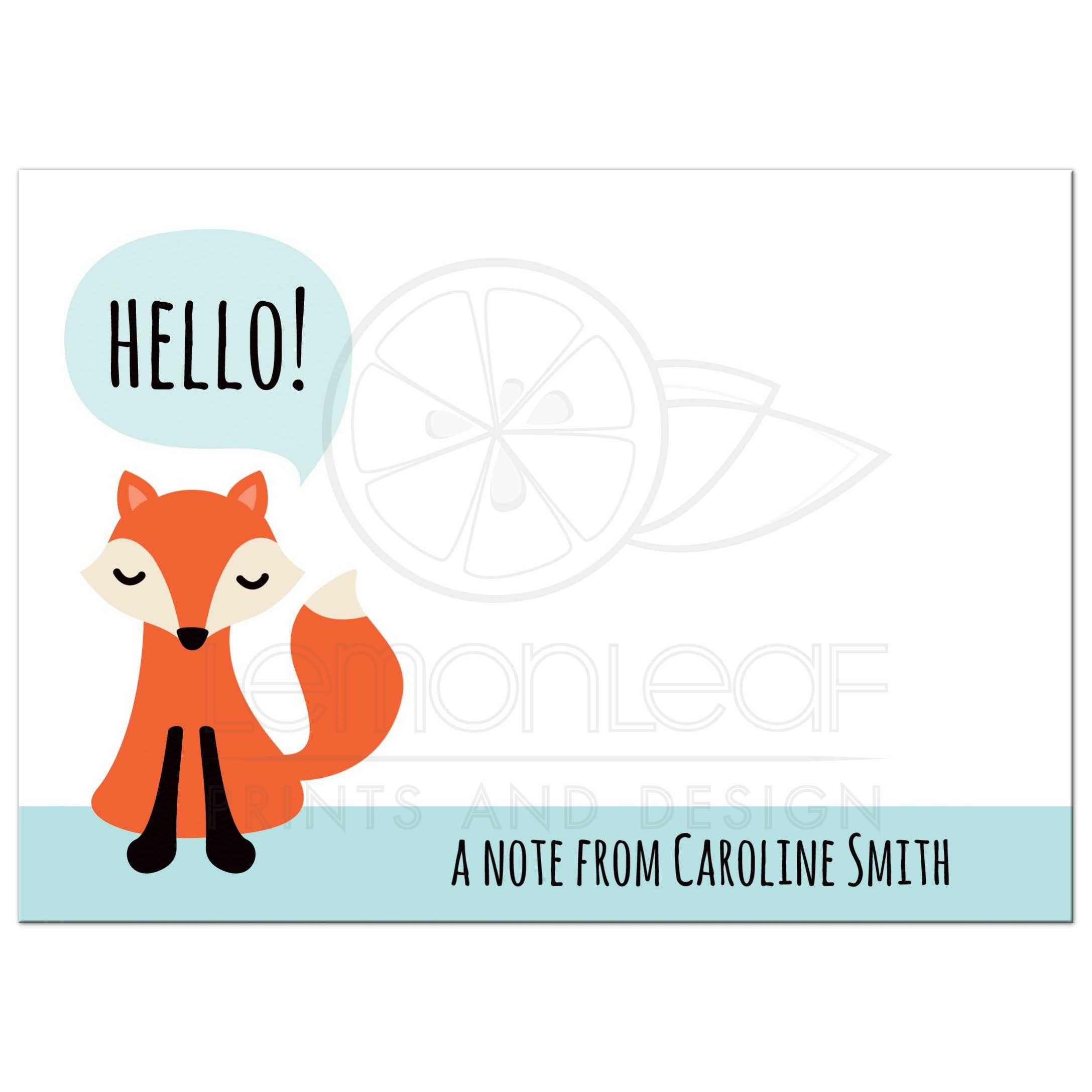 fox note cards with personalized name - Personalized Flat Note Cards
