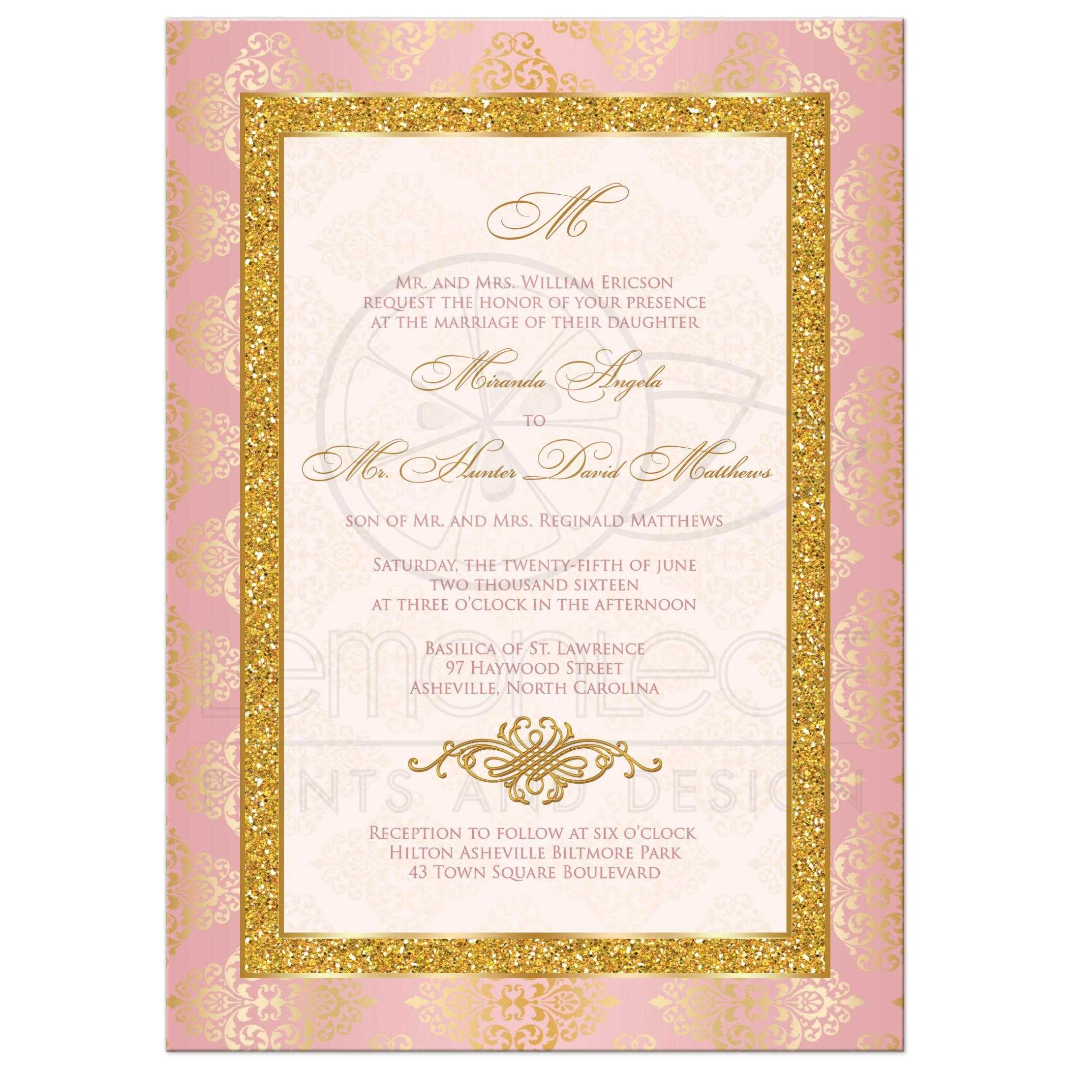 Blush Pink Ivory And Gold Damask Wedding Invitation