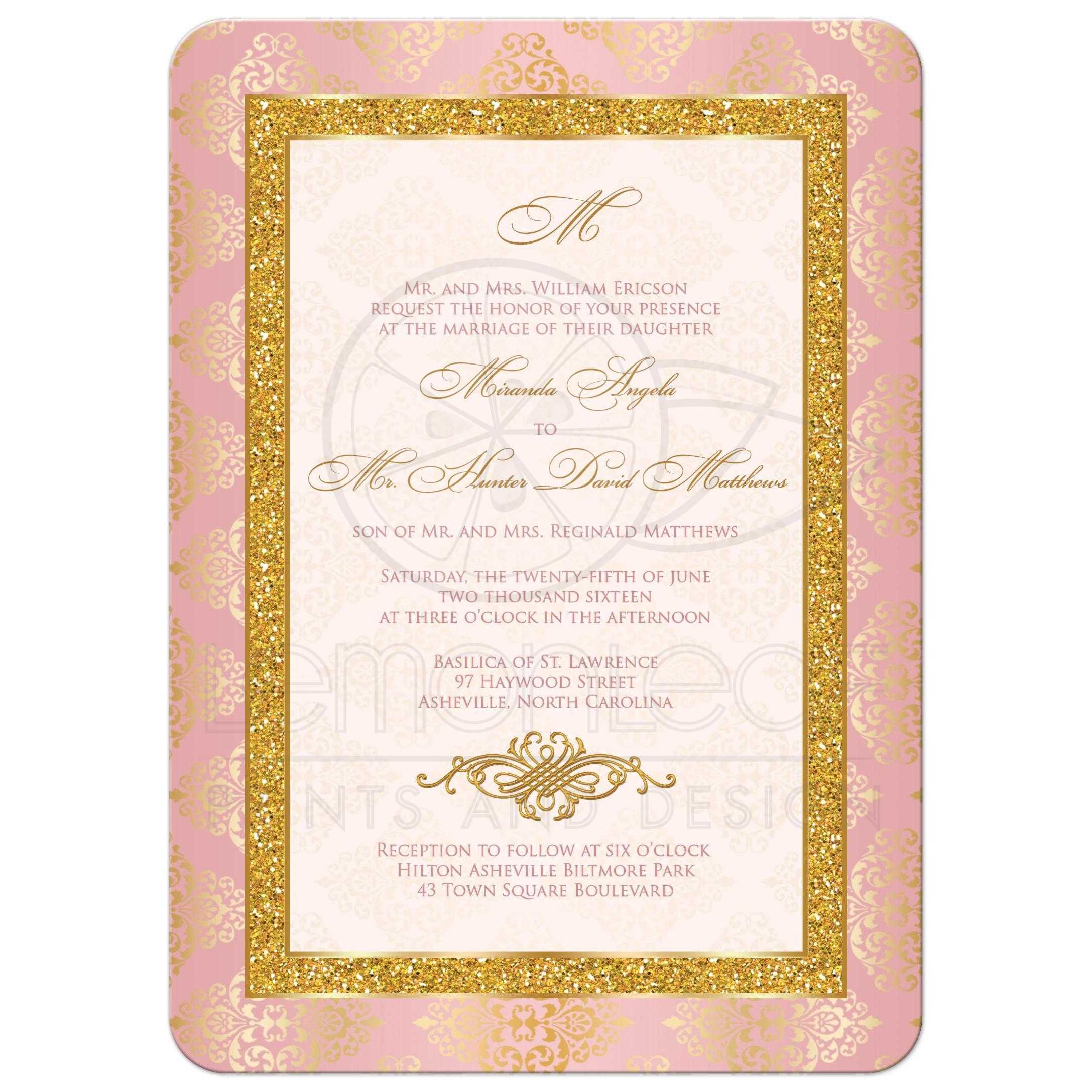 Gold And Blush Wedding Invitations: Victorian Elegance