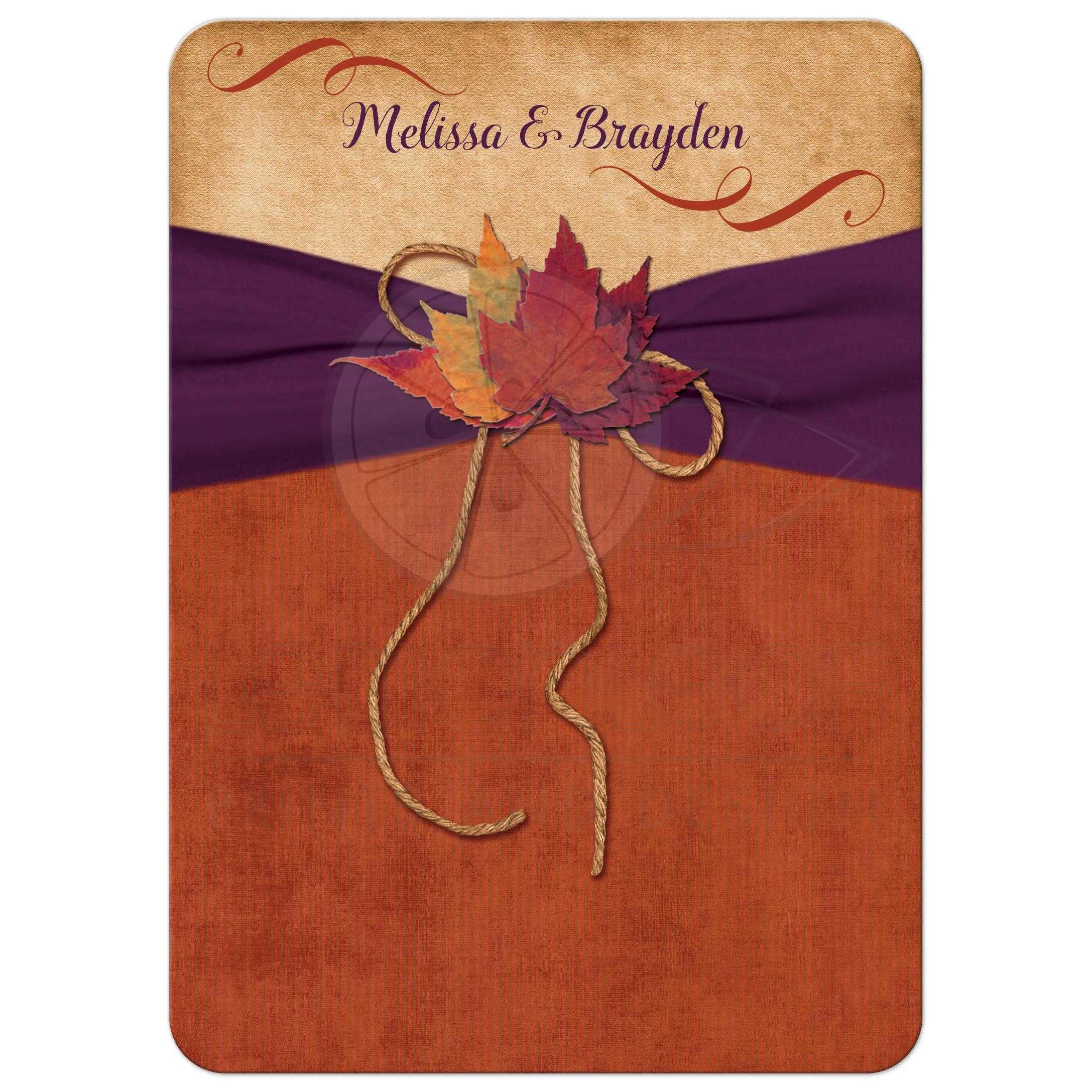 Wedding Invitation | Autumn Leaves | Orange, Purple | Printed Ribbon ...