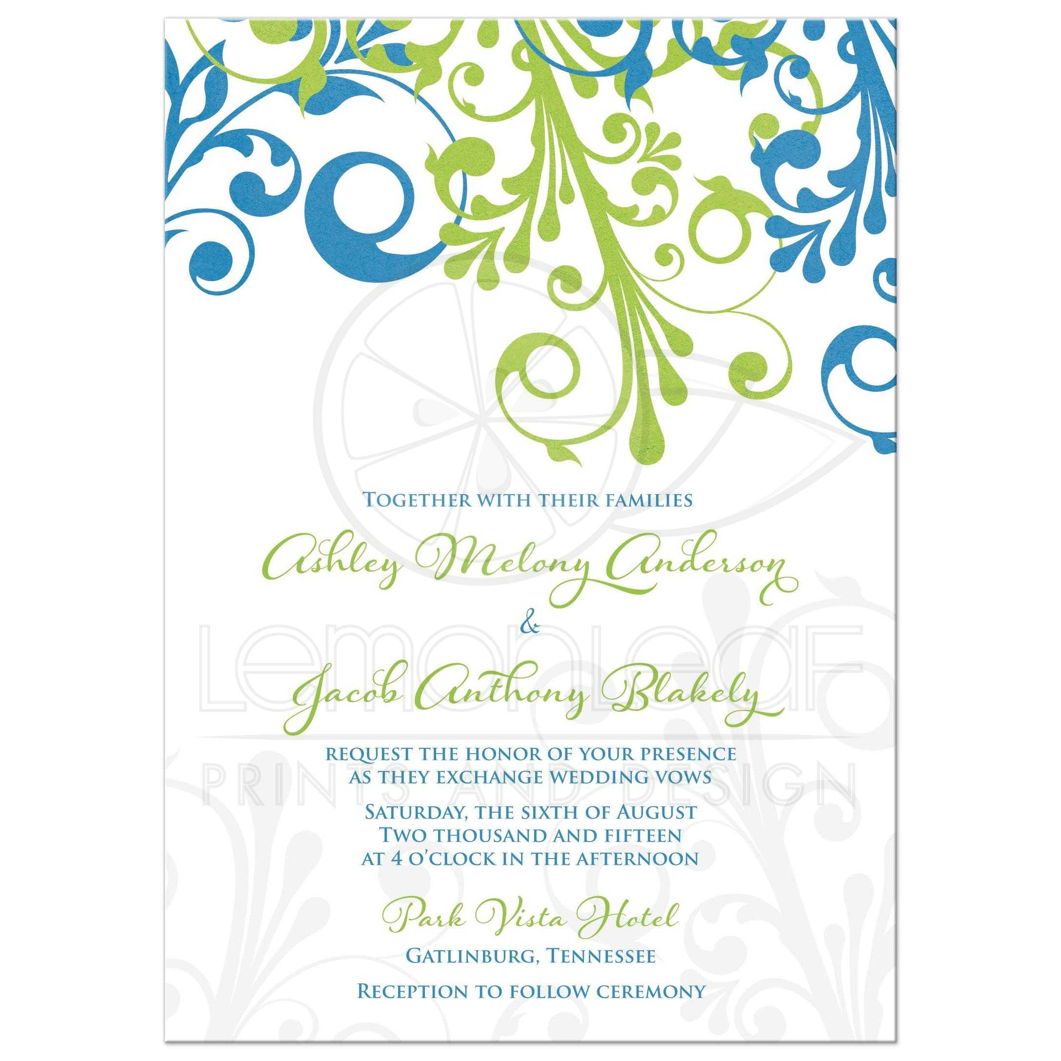 Cerulean Blue And Lime Green Modern Abstract Fl Wedding Invitation Front