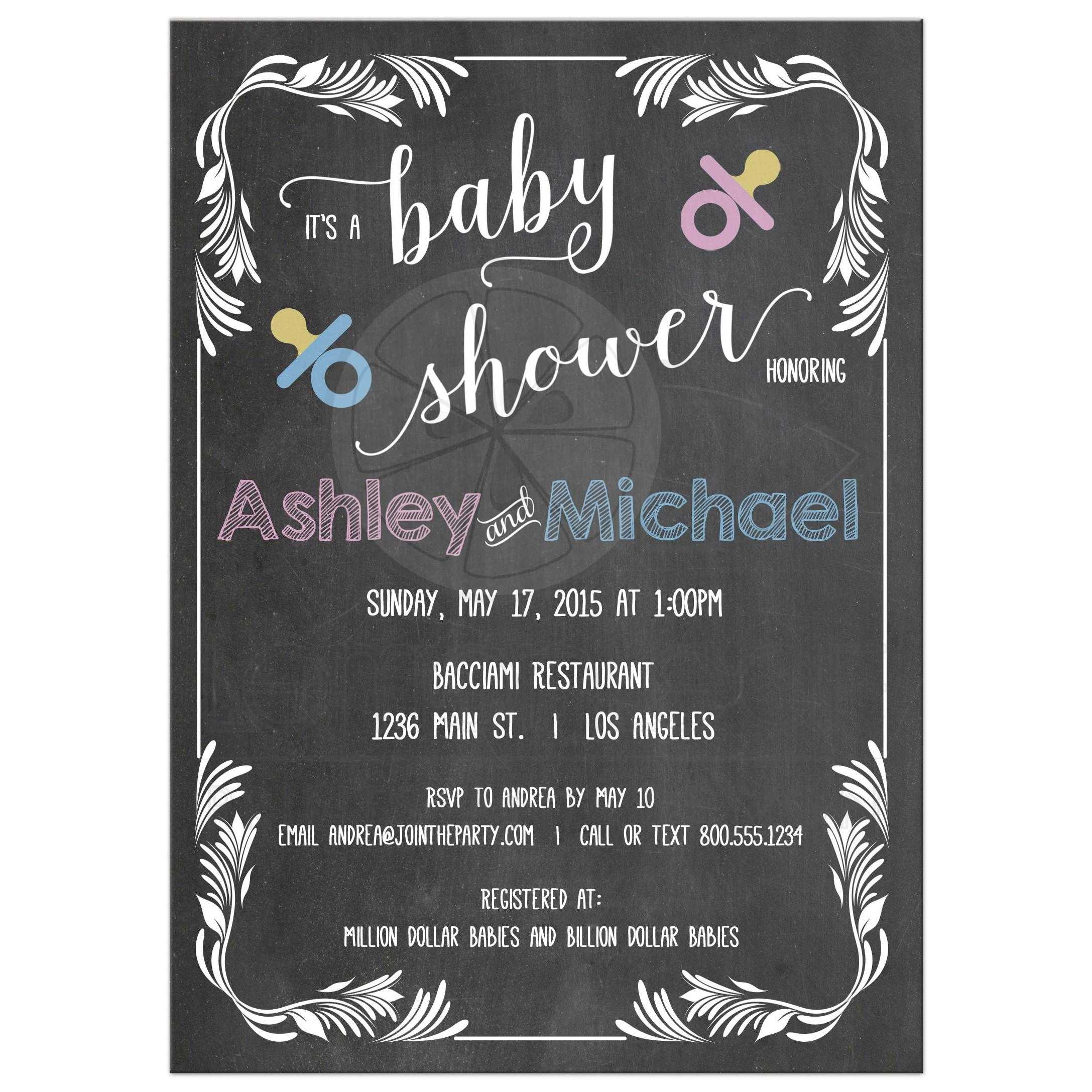 Chalkboard Scrollwork Frame Typography Baby Shower Invitation