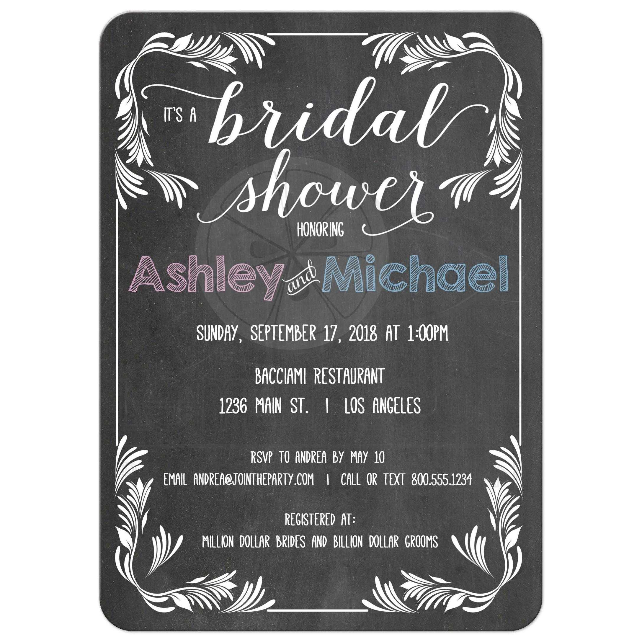 Trendy Chalkboard Typography Bridal Shower Invitation
