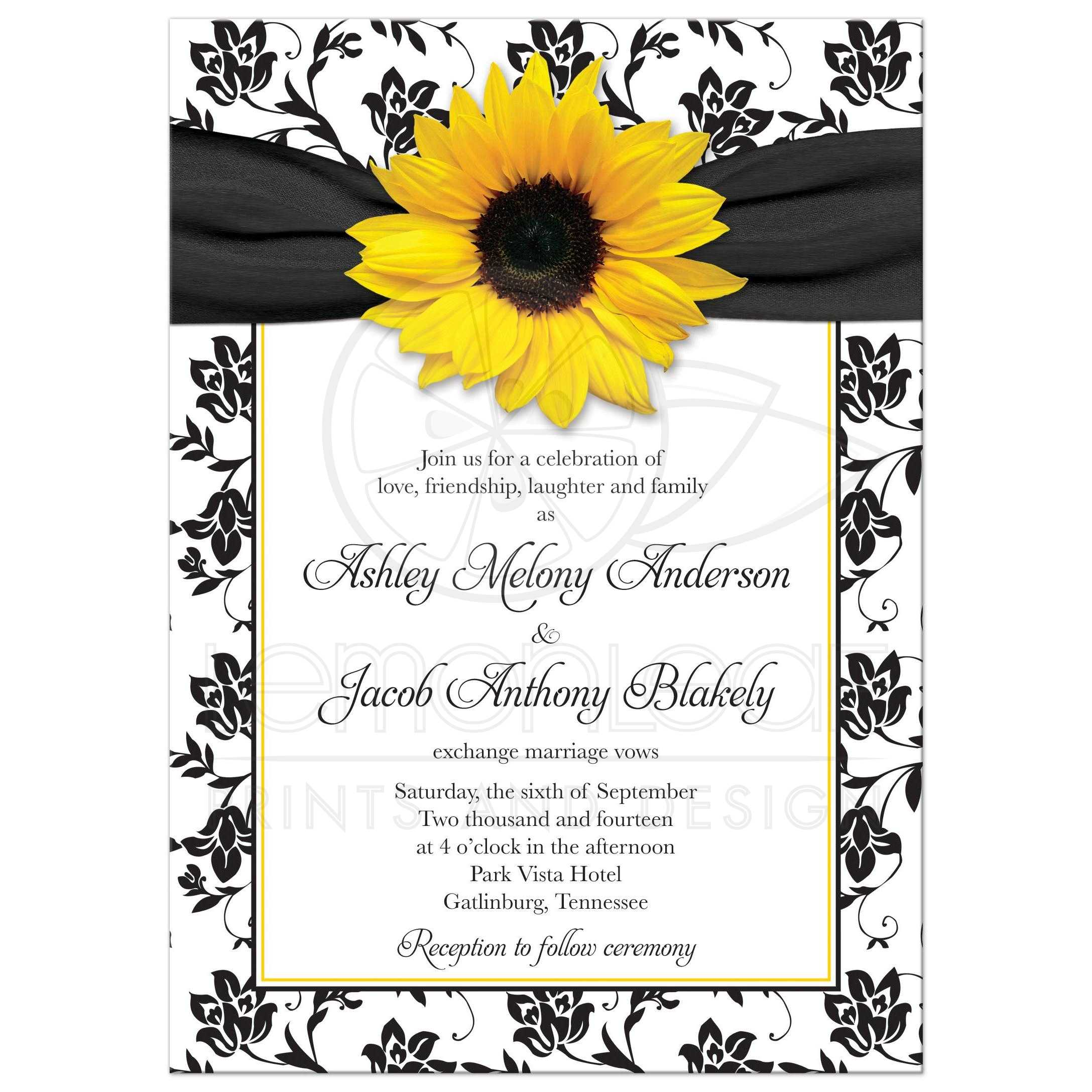 wedding invitation sunflower damask black white yellow