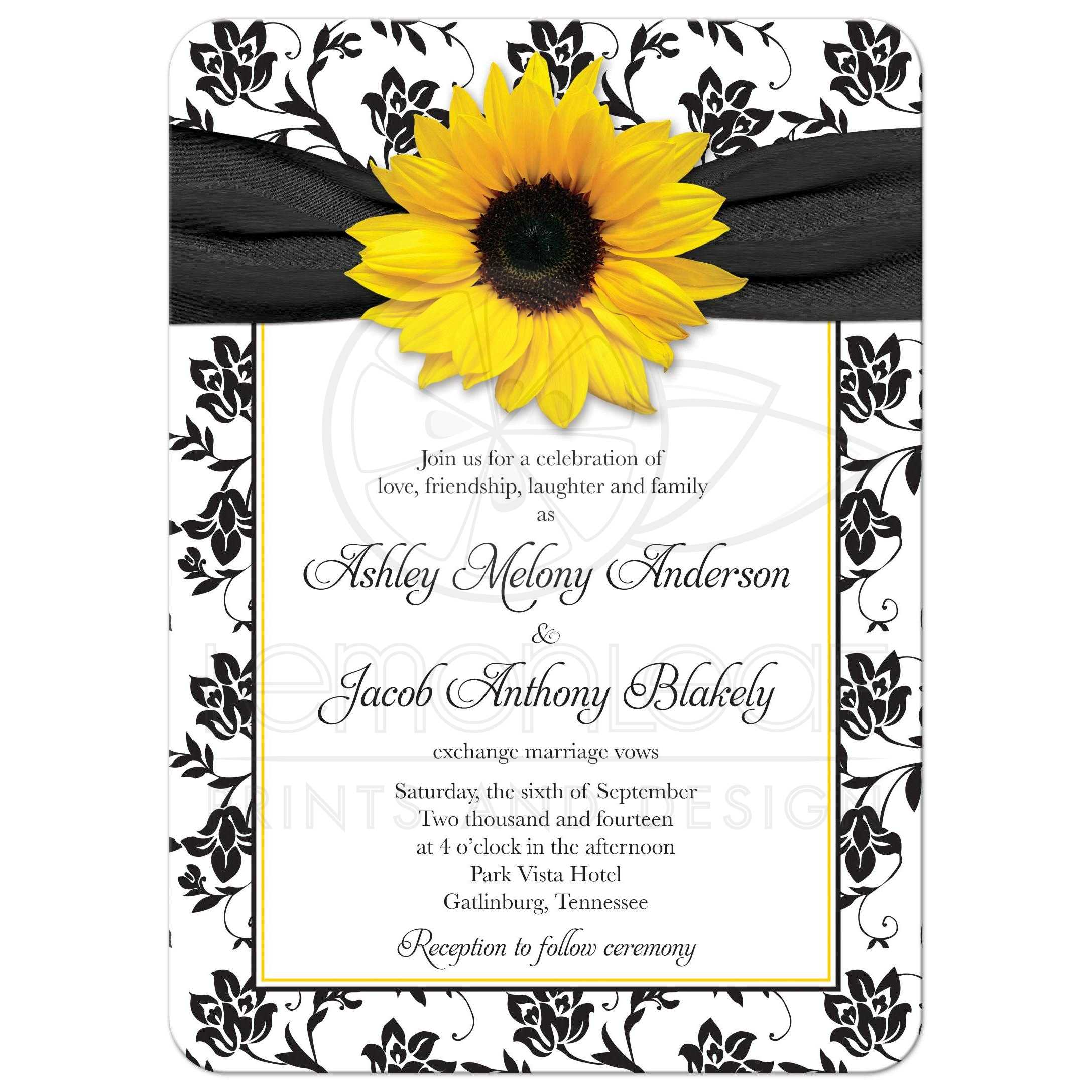 ... Yellow Sunflower, Black And White Damask Floral And Ribbon Wedding  Invitation Front ...