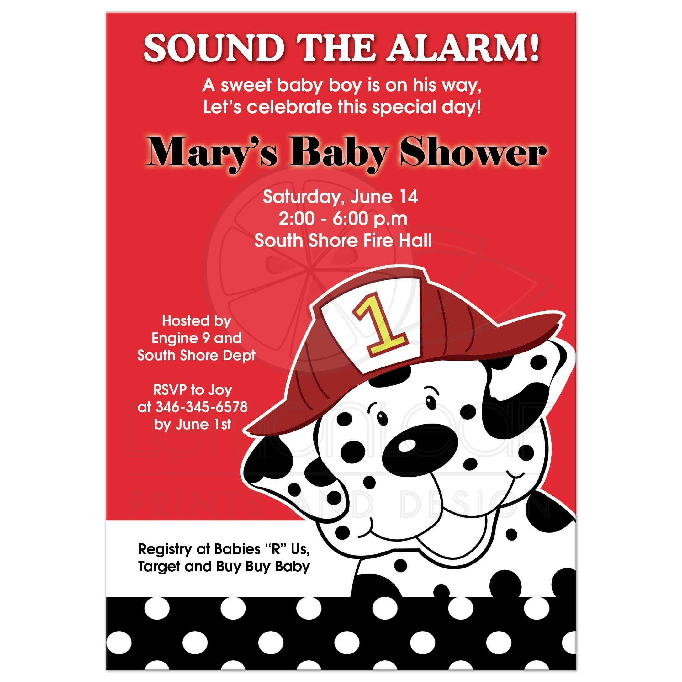 Dalmatian Firetruck Baby Shower Invitation