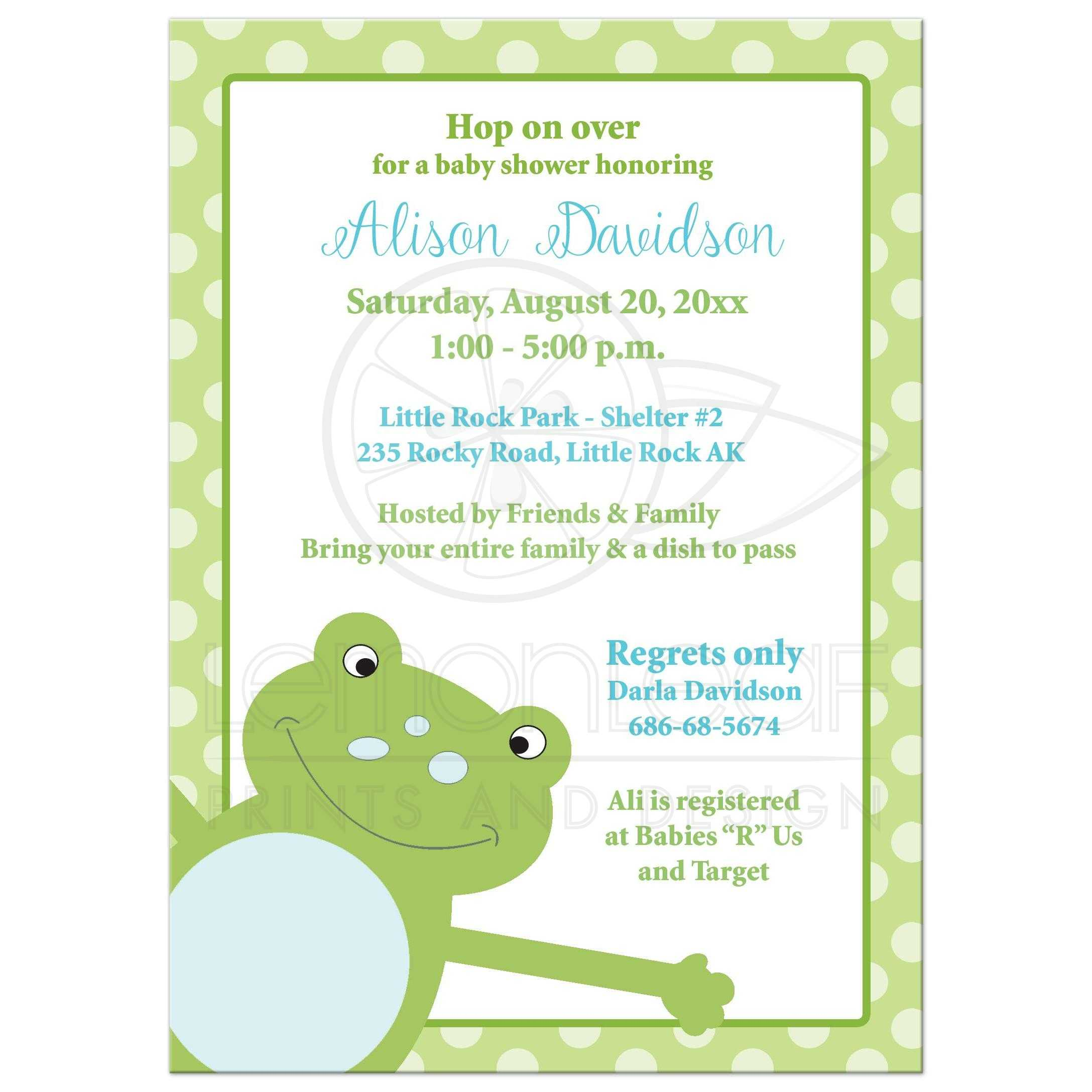 Leap Frog Baby Shower Invitation Green