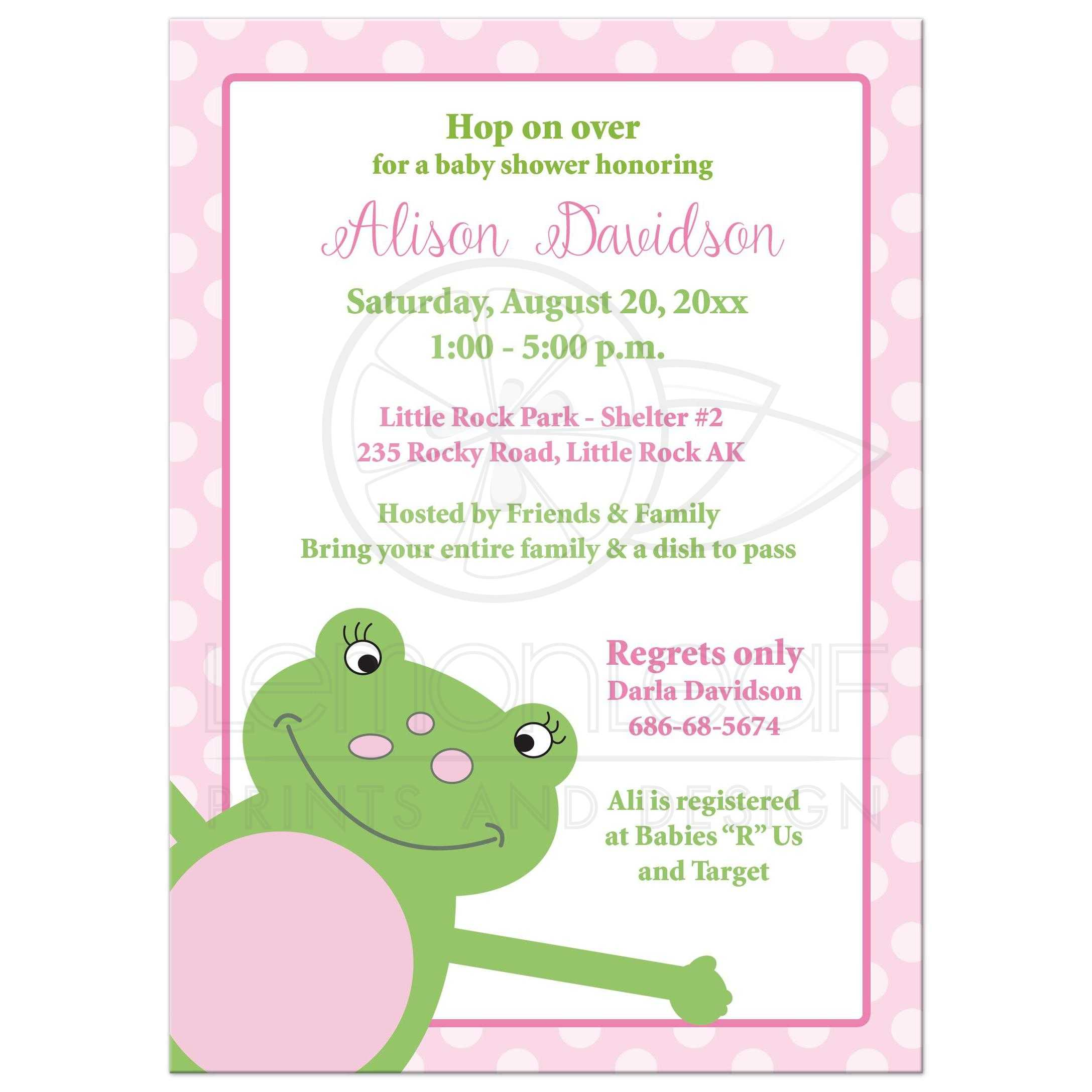 Leap Frog Girl Baby Shower Invitation - Pink