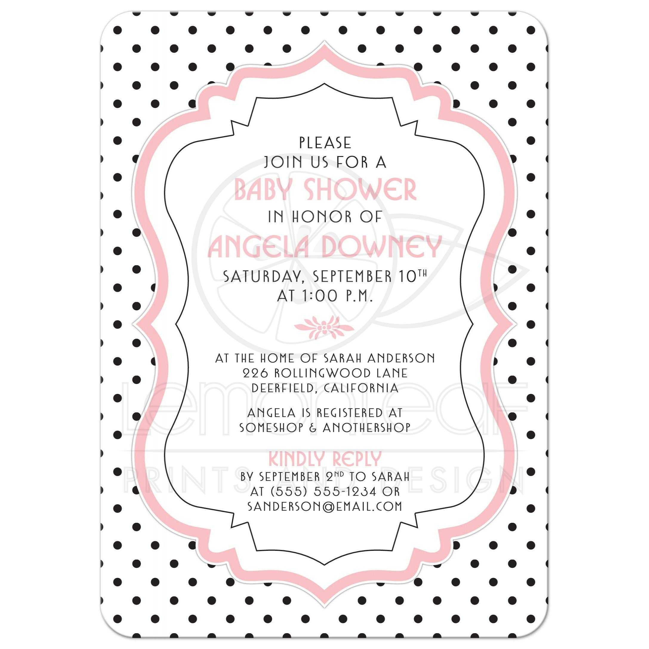Baby Shower Invite Chic Retro Black White Polka Dots Pink