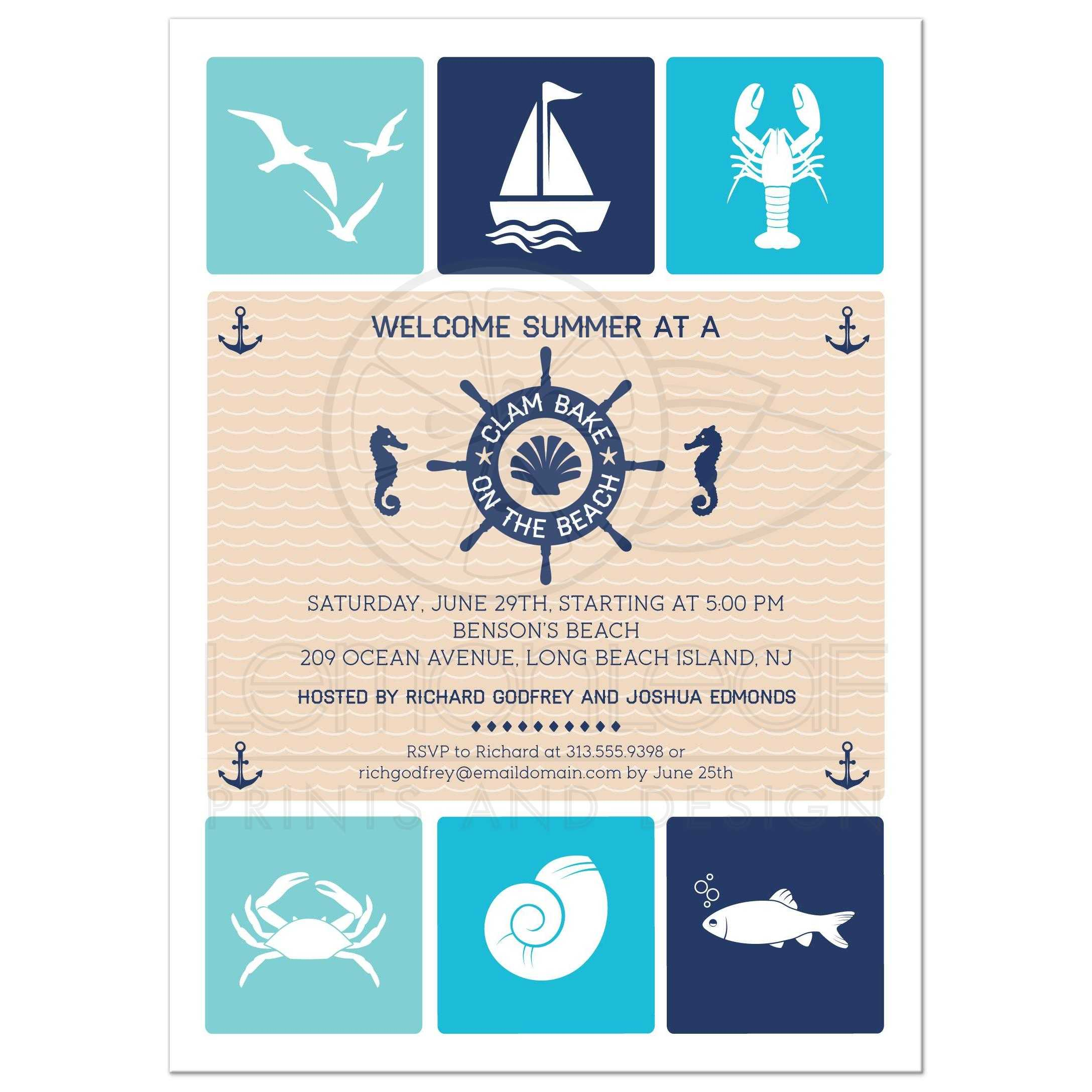 Party Invitation Nautical Summer Beach Party Clambake Icons