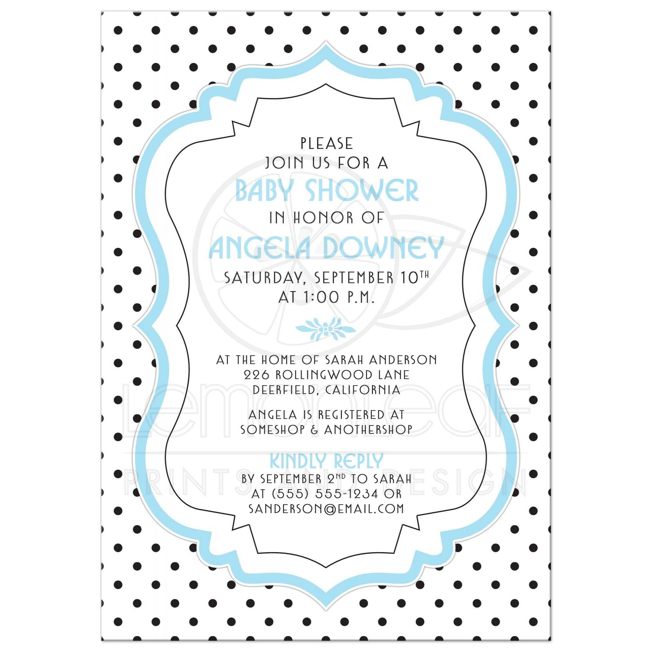 Retro Black And White Polka Dots Vintage Frame Blue Baby Boy Shower Invitation