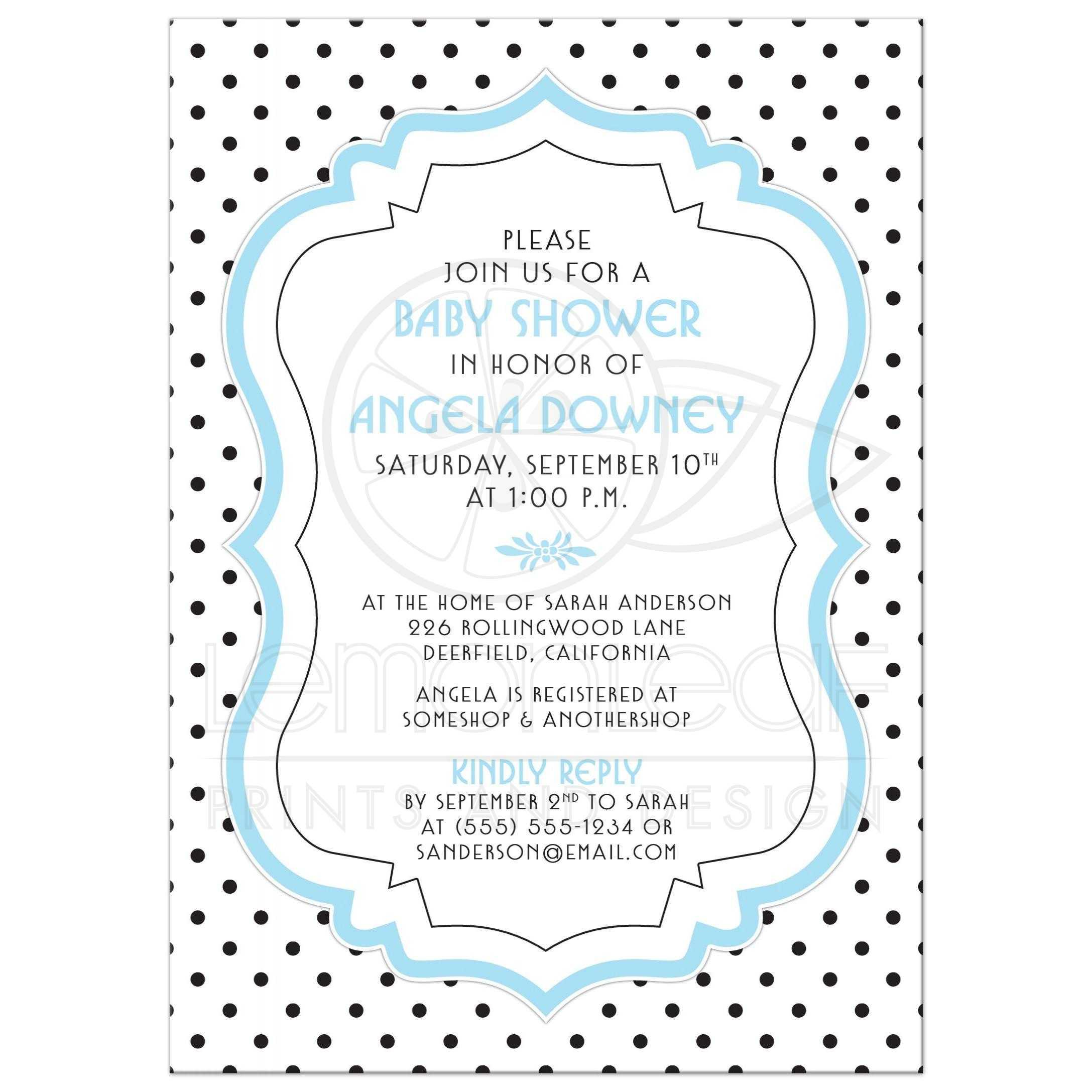 Retro Black And White Polka Dots, Vintage Frame, Blue Baby Boy Baby Shower  Invitation ...