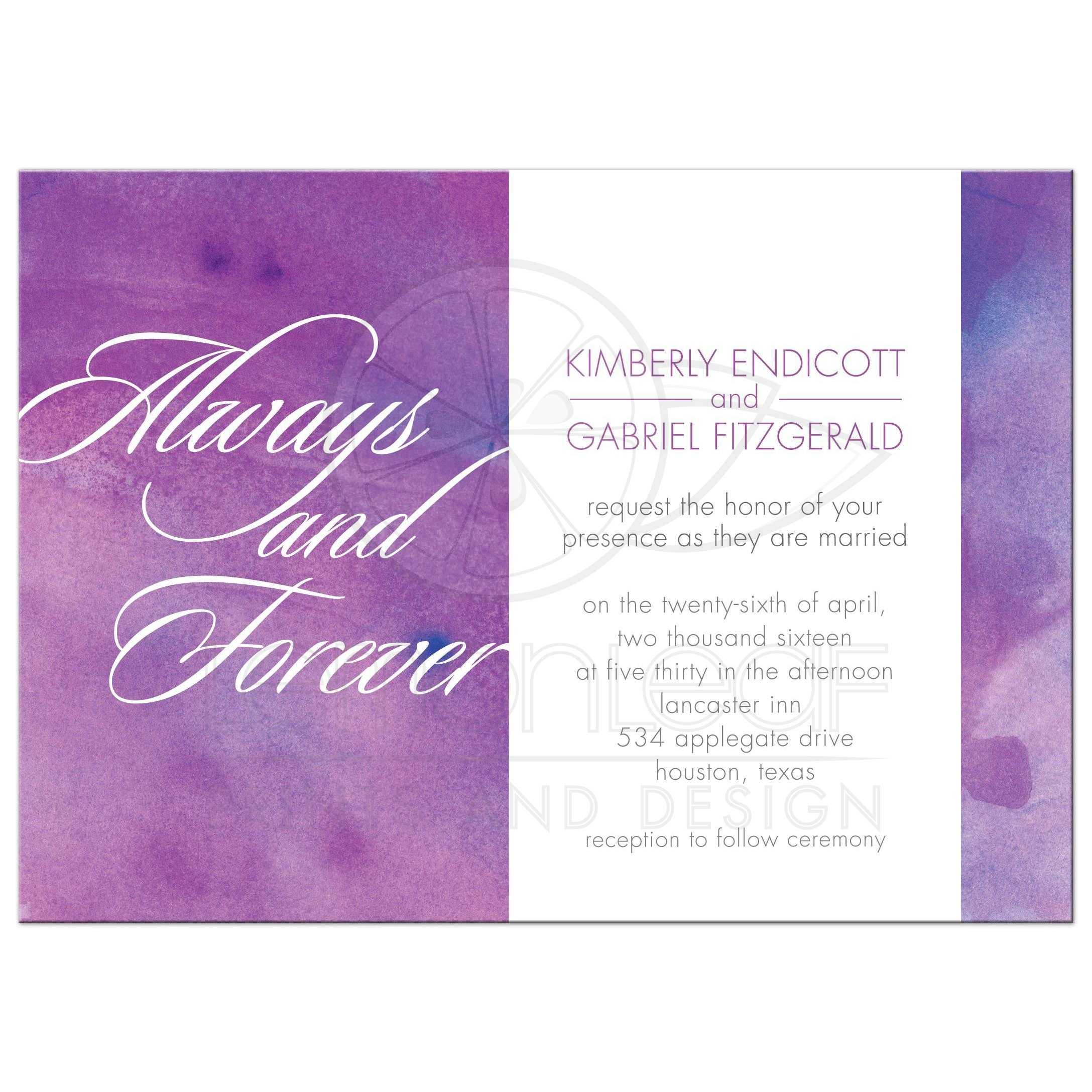 Wedding Invitation - Always and Forever Purple Watercolor Wash