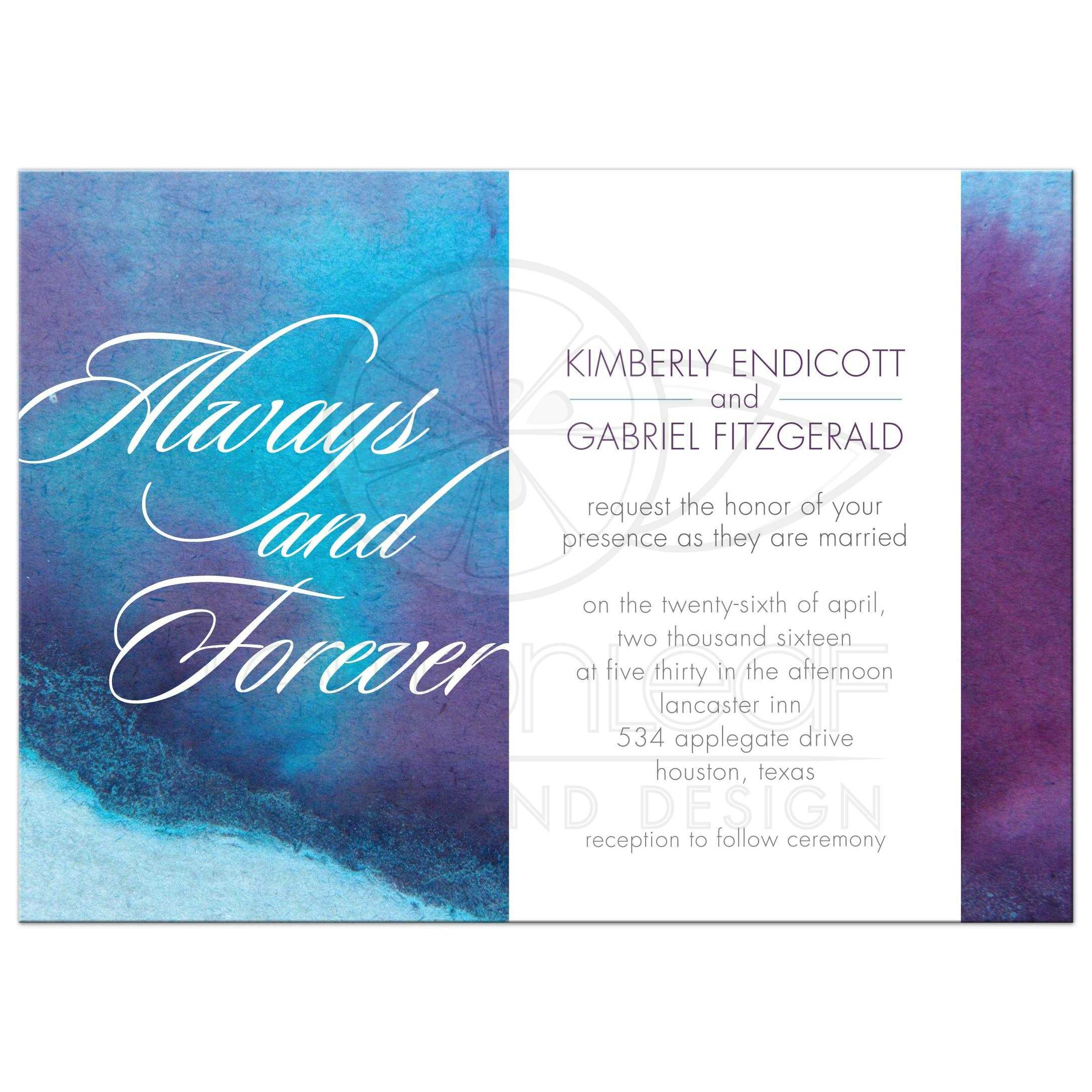 Elegant Wedding Invitation   Always And Forever Blue Purple Watercolor Wash