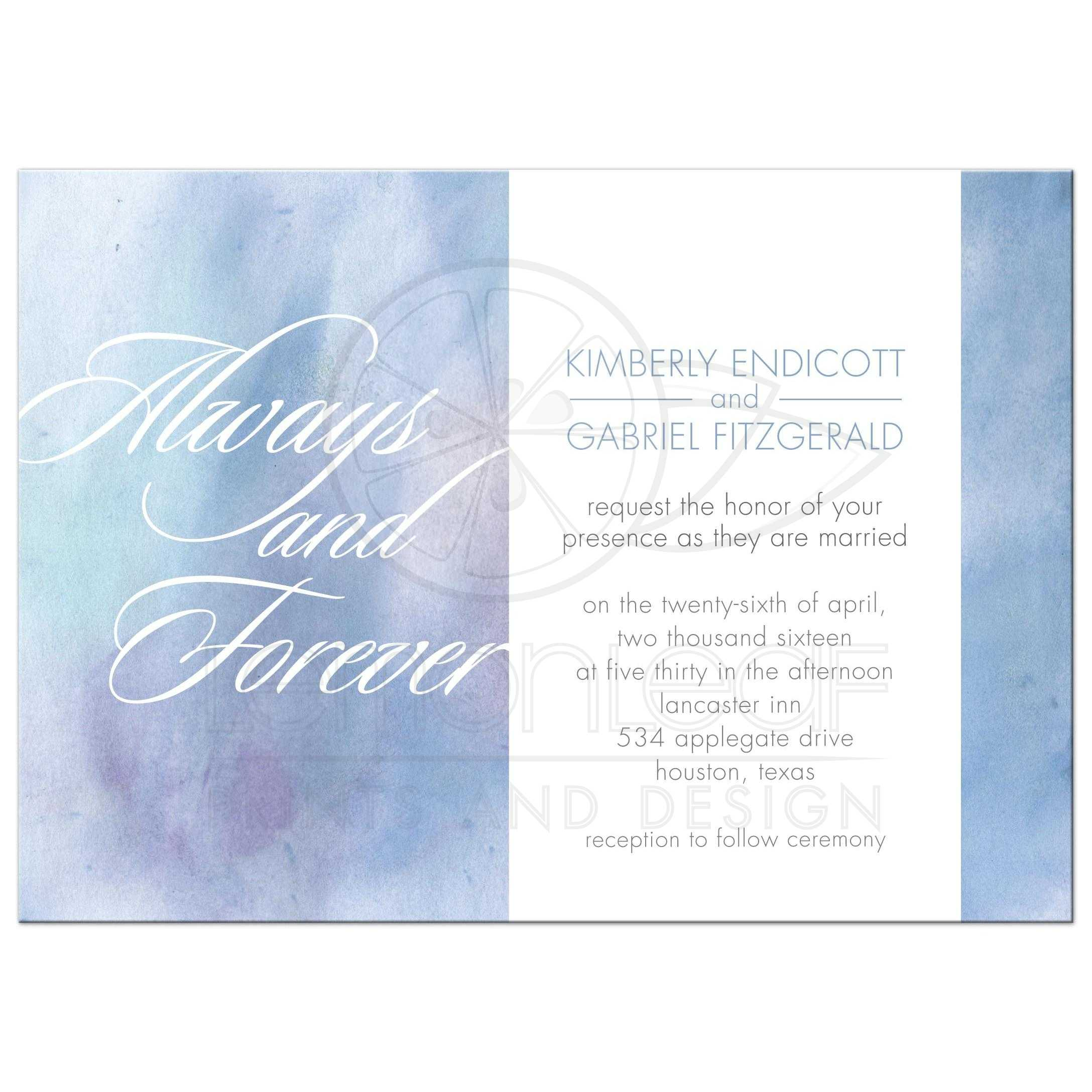 Wedding Invitation - Always and Forever Light Blue Watercolor Wash