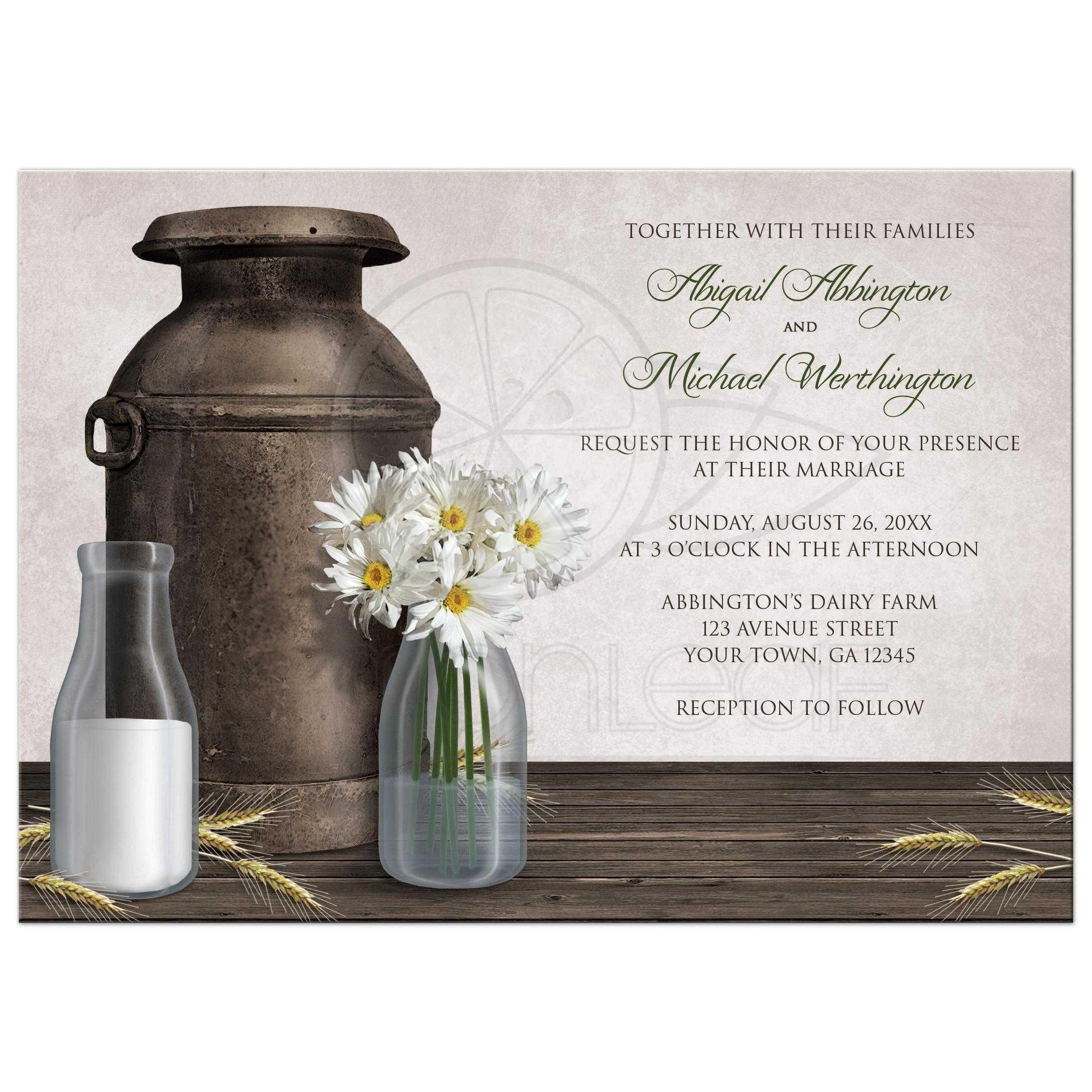 Wedding Invitations Rustic Country Dairy Farm