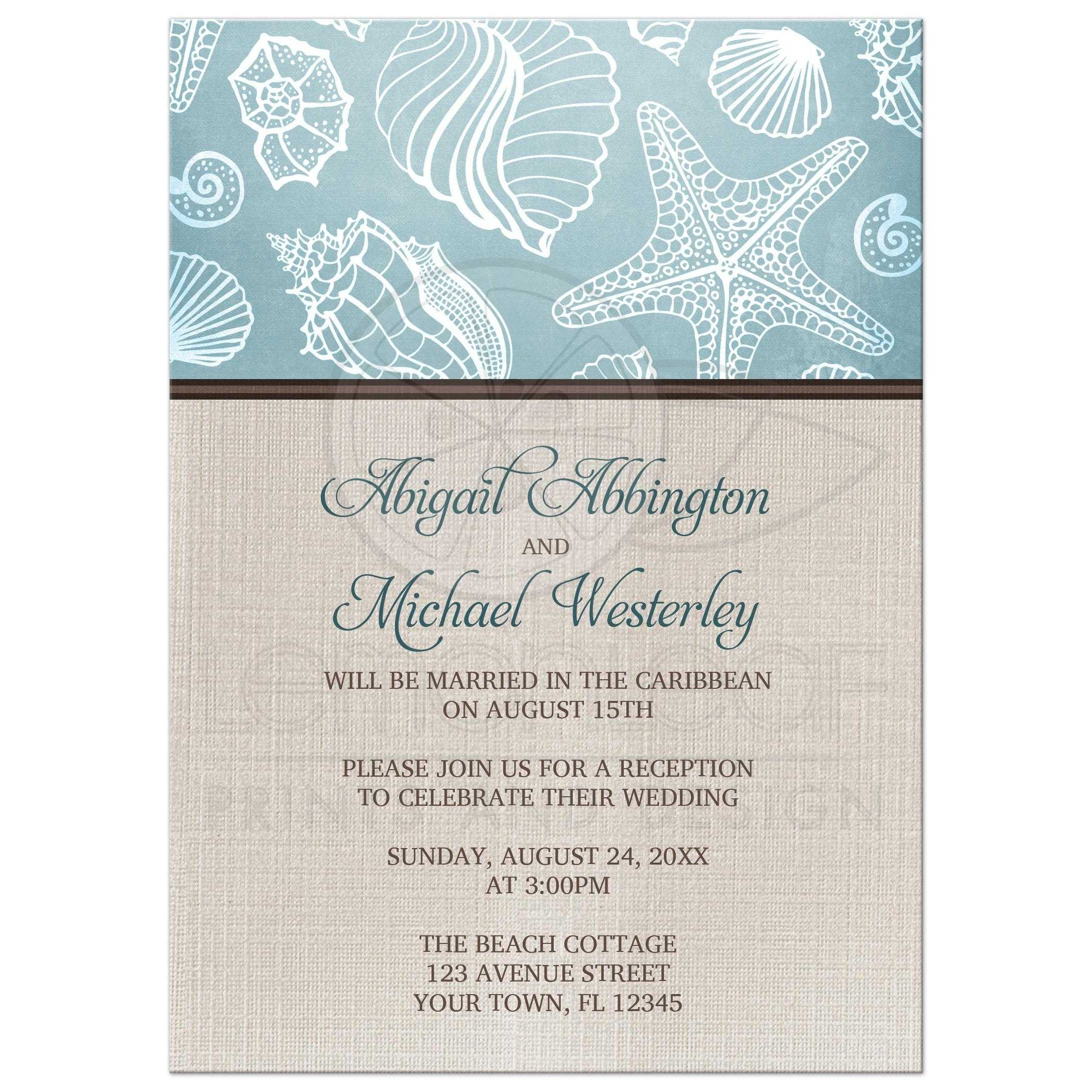 Reception Only Invitations   Rustic Beach Seashells Linen