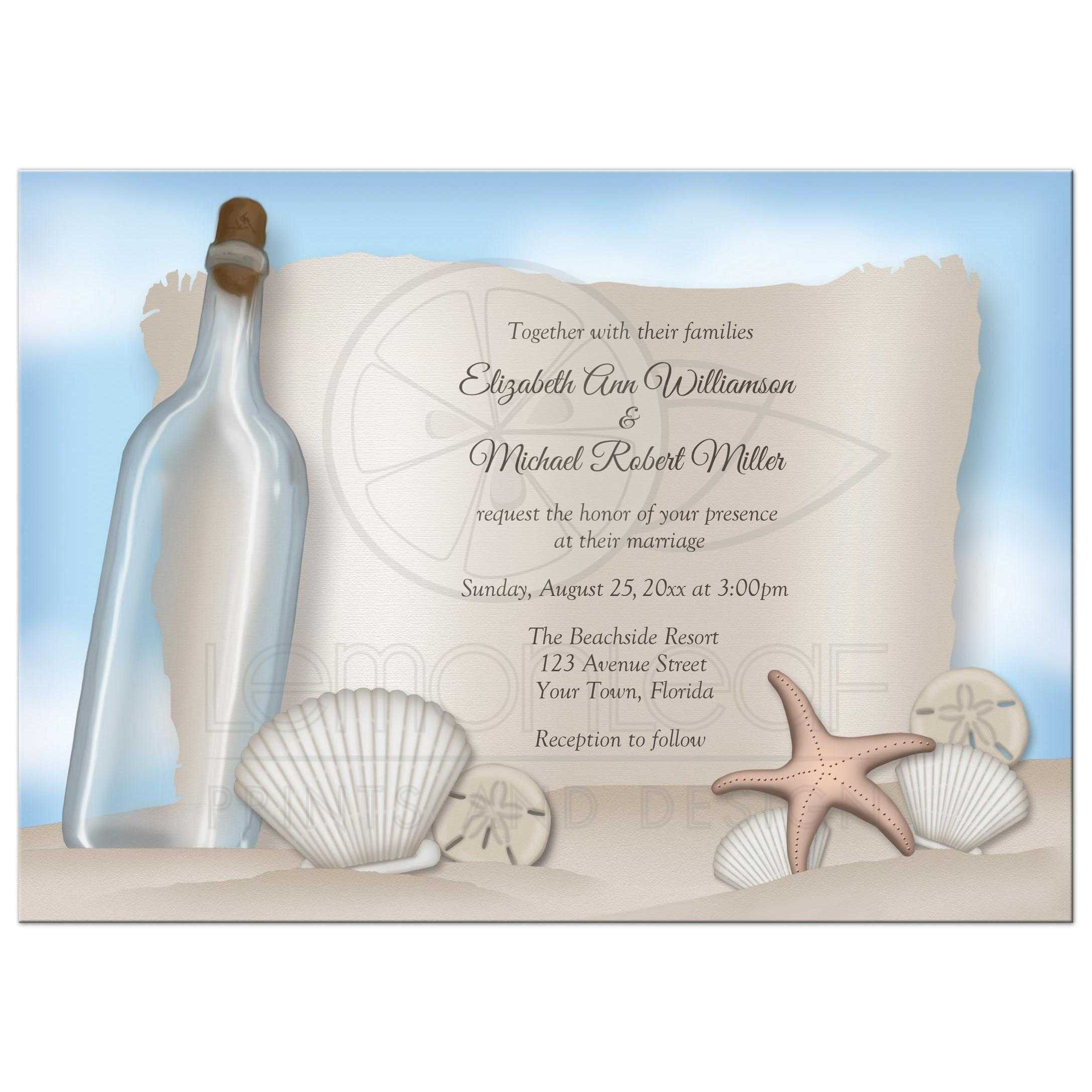 Message In A Bottle Wedding Invitations: Beach Message From A Bottle