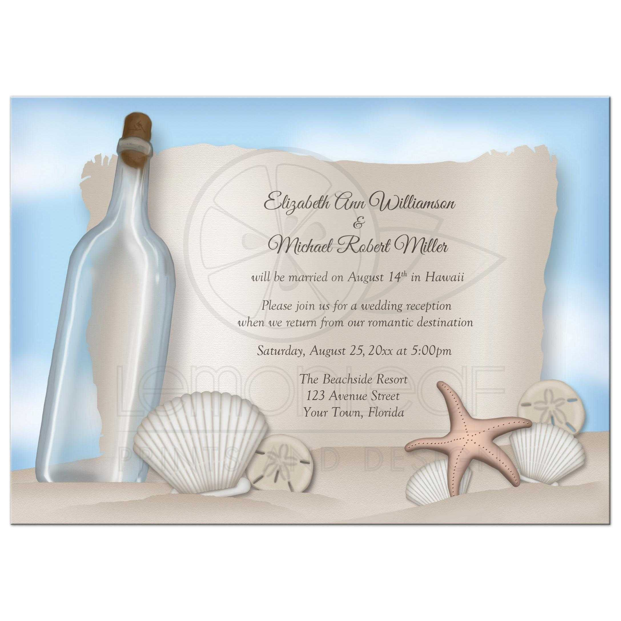 For Beach Wedding Invitation Sample: Beach Message From A Bottle