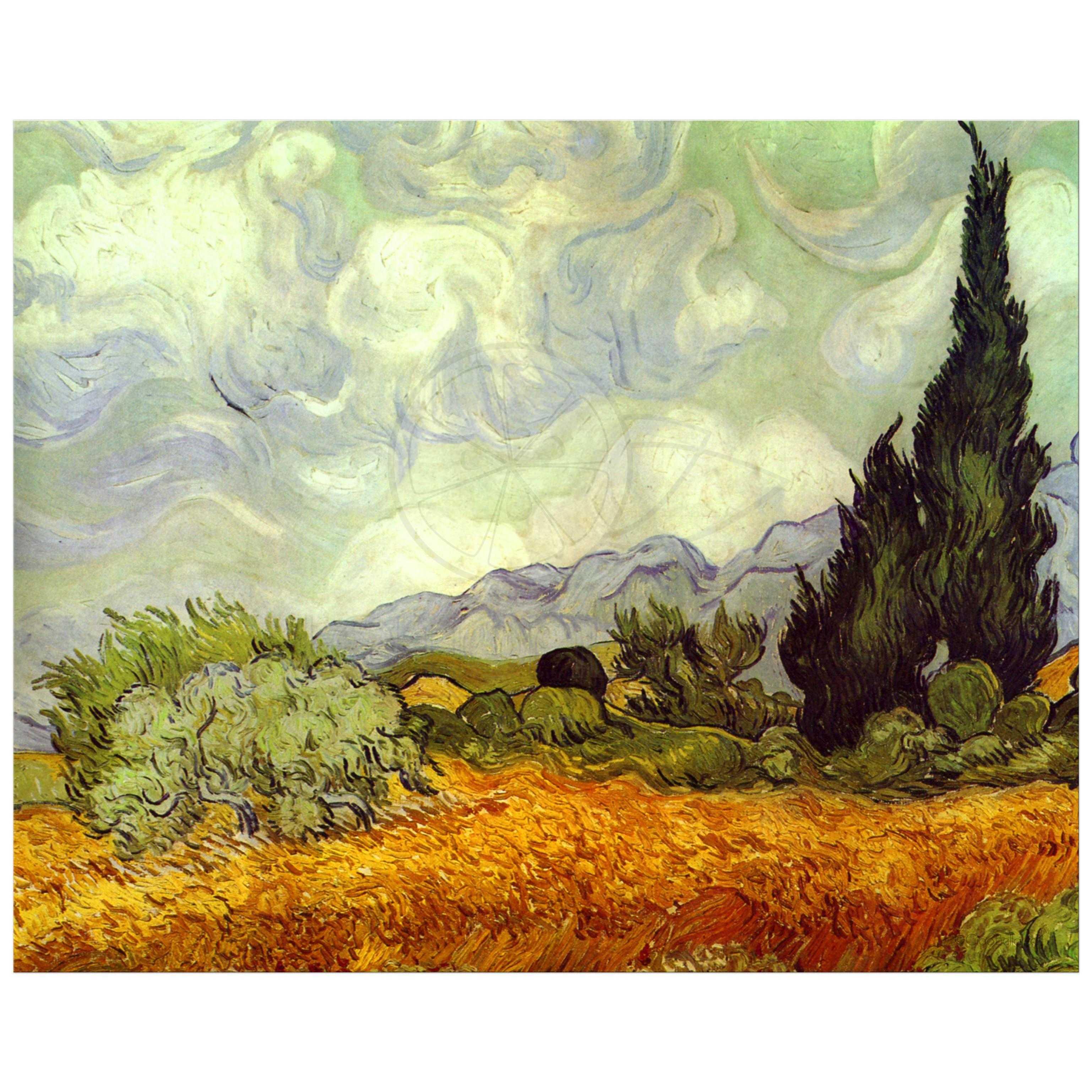 VINCENT VAN GOGH CYPRESS TREES LANDSCAPE PAINTING 8X10 REAL CANVAS ART PRINT