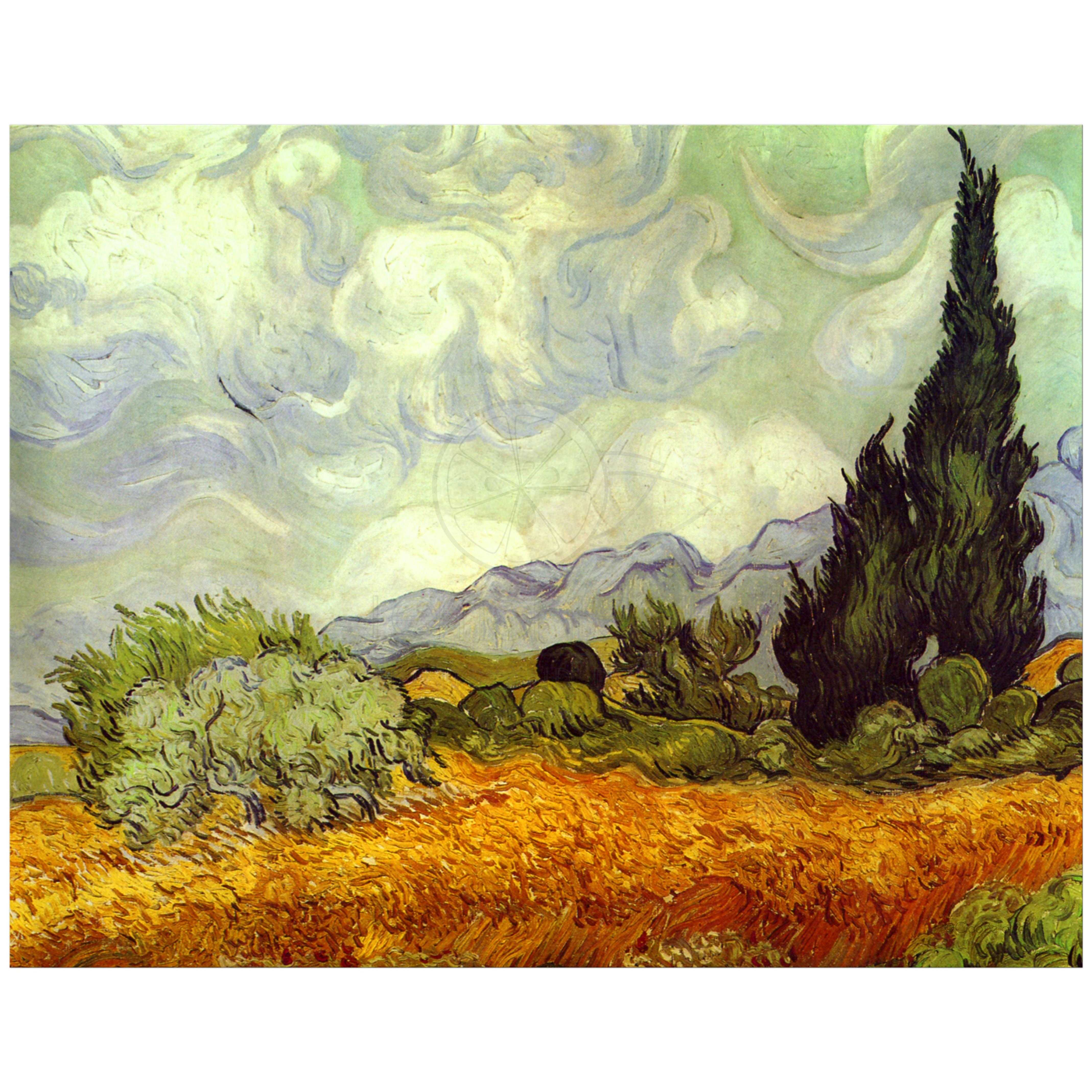 11x14 Wall Art Of Van Gogh S Wheat Field With Cypresses