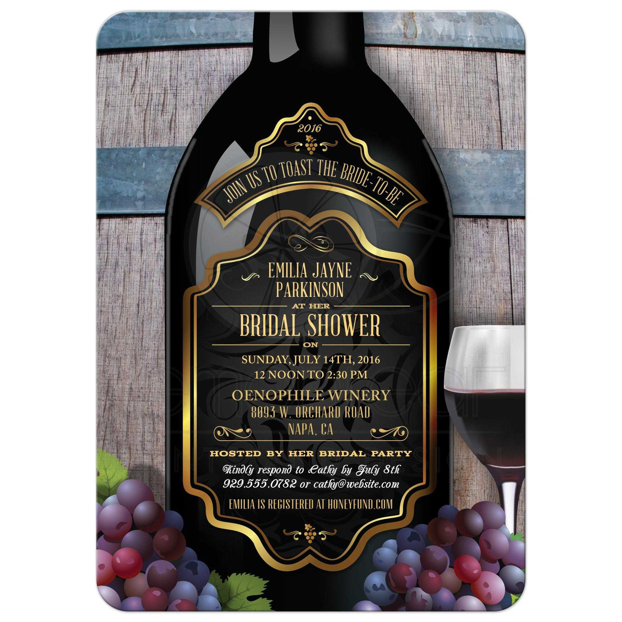Wedding Wine Bottles: Bridal Wedding Shower Invitation