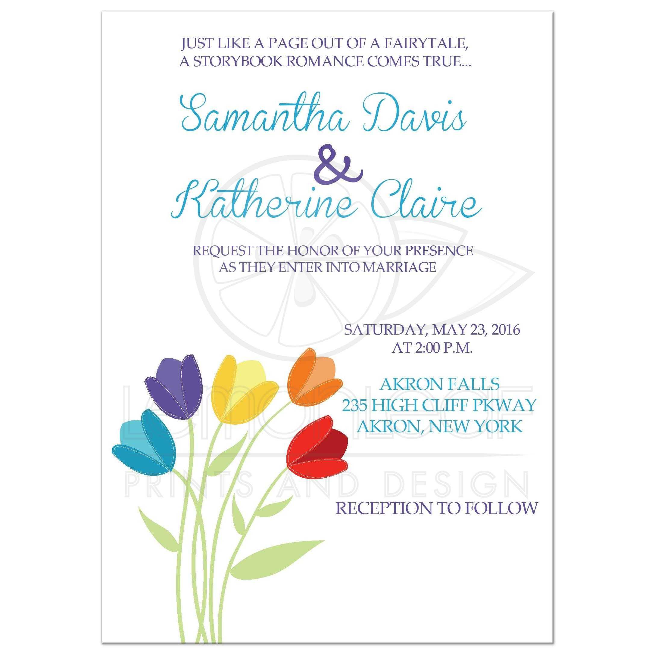 Tulip Multi Color Rainbow Wedding Invitations