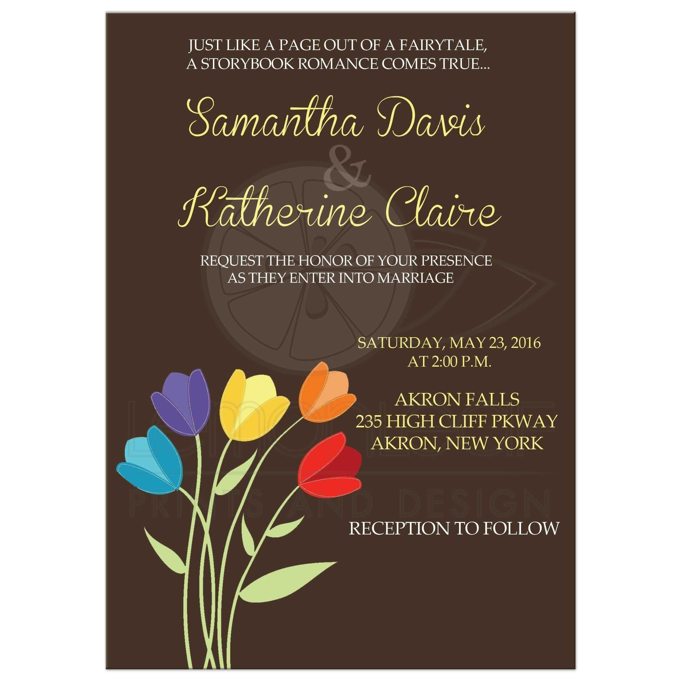 Tulip Multicolor Rainbow Wedding Invitation Brown