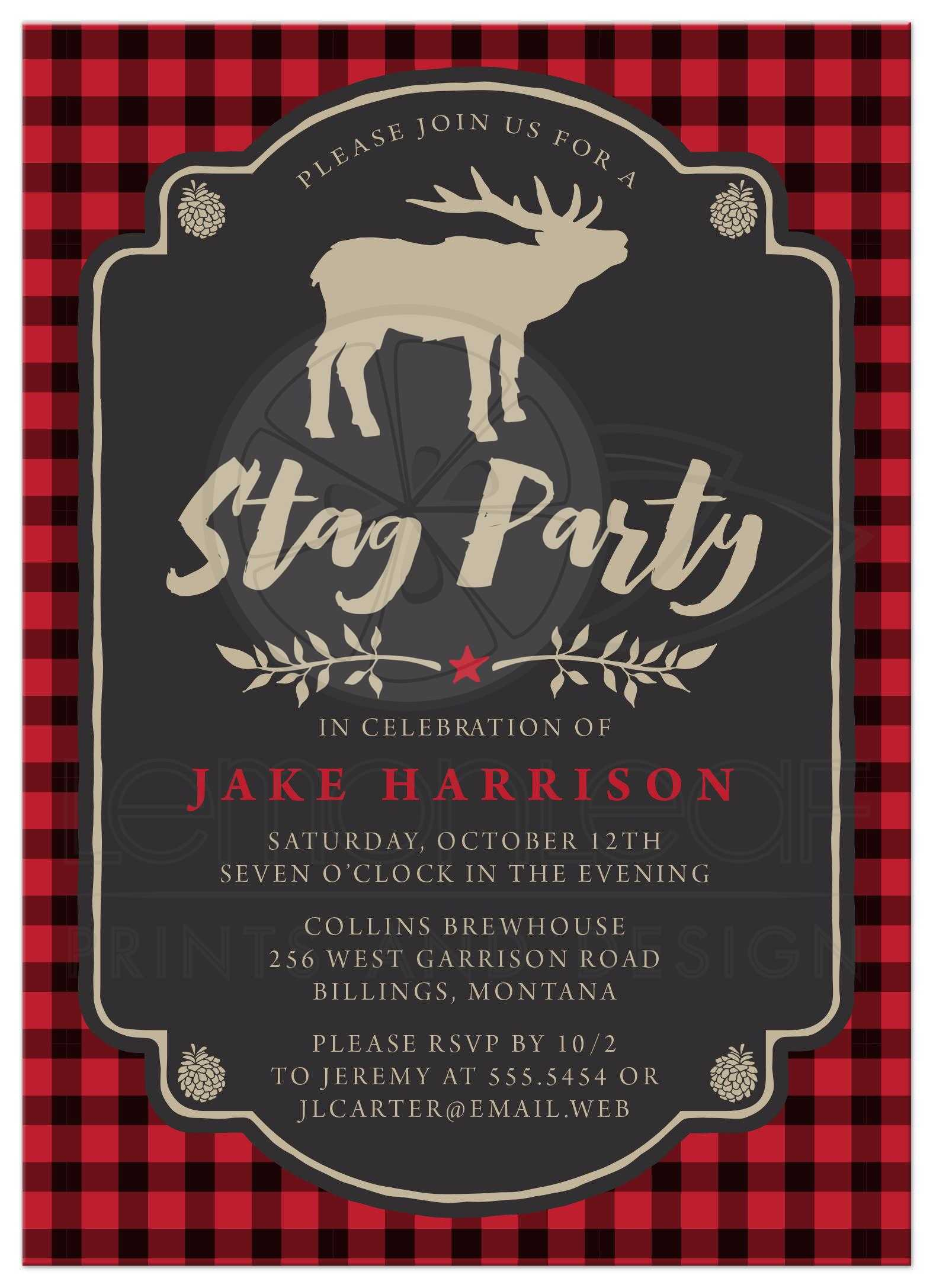 Bachelor party invitations rustic red black plaid stag party rustic red black plaid stag bachelor party invitations front monicamarmolfo Choice Image