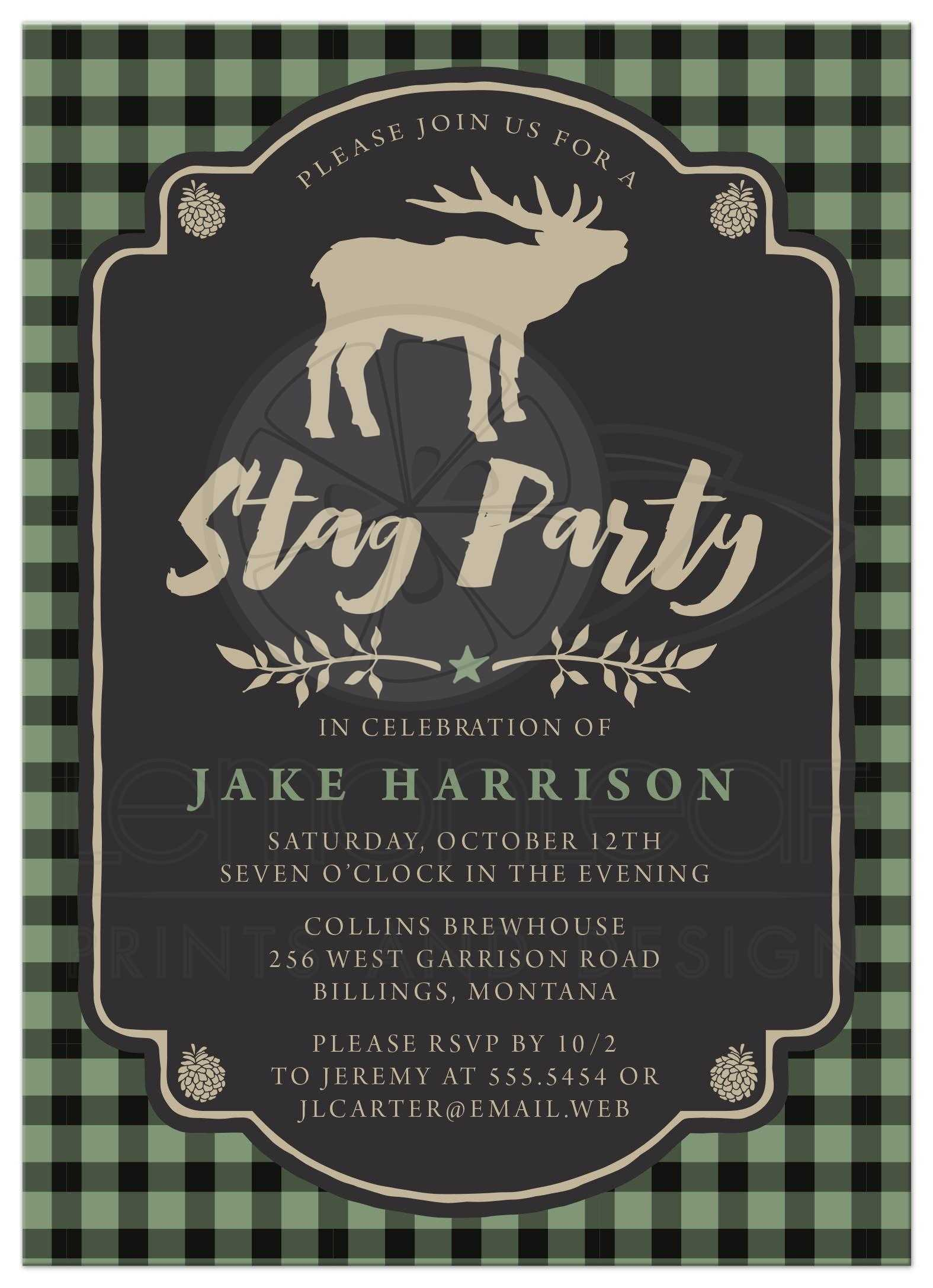 Rustic Green Black Plaid Stag Bachelor Party Invitations Front